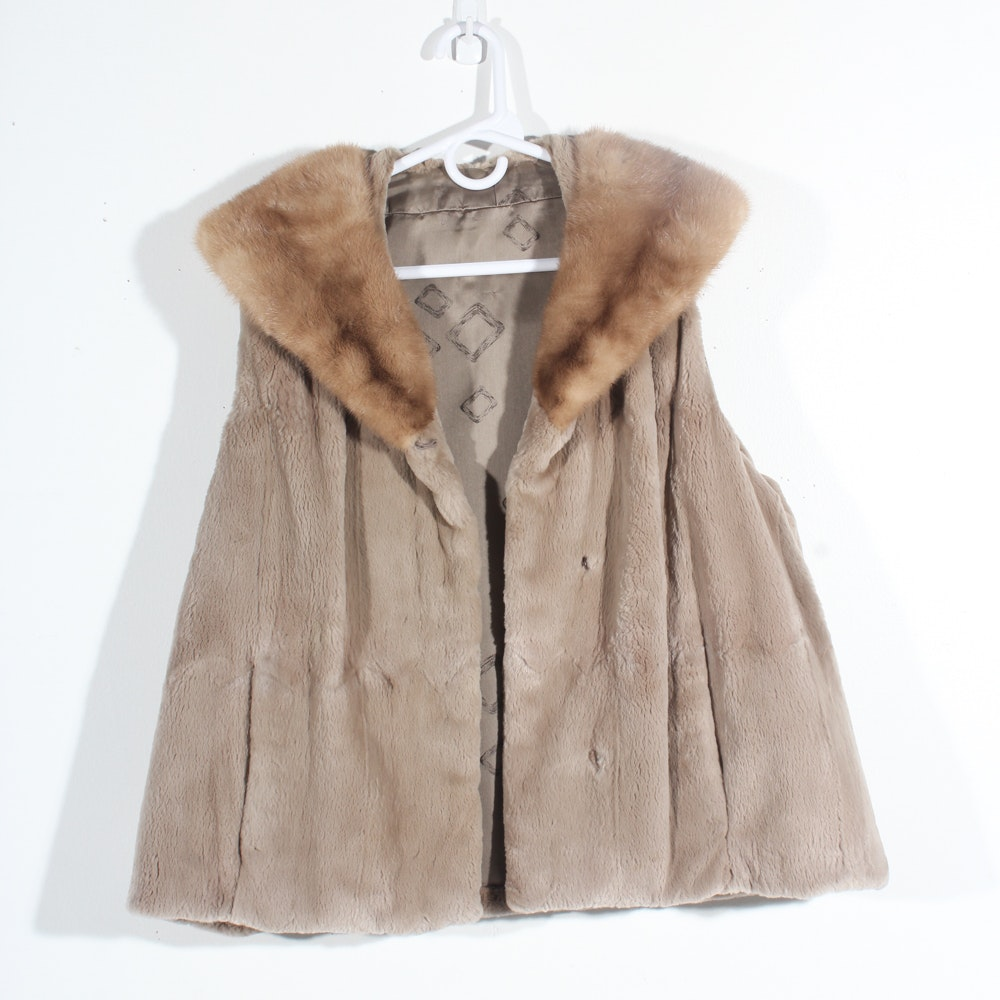 Vintage Sheared Beaver and Mink Fur Vest