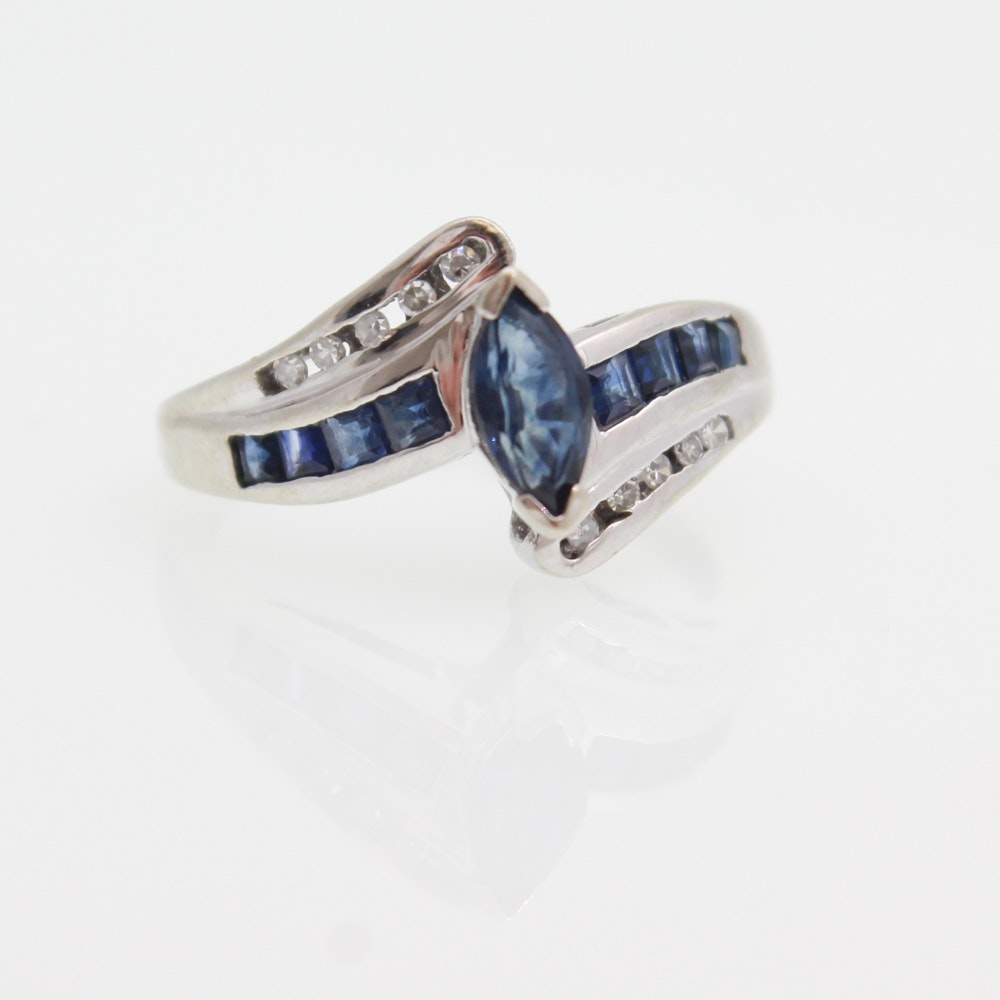 10K White Gold, Sapphire, and Diamond Ring