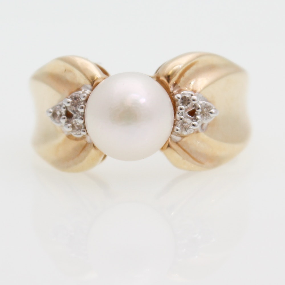 14K Yellow Gold, Cultured Pearl, and Diamond Ring