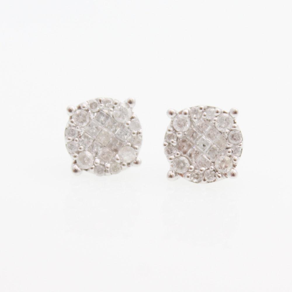 10K White Gold and Diamond Earrings