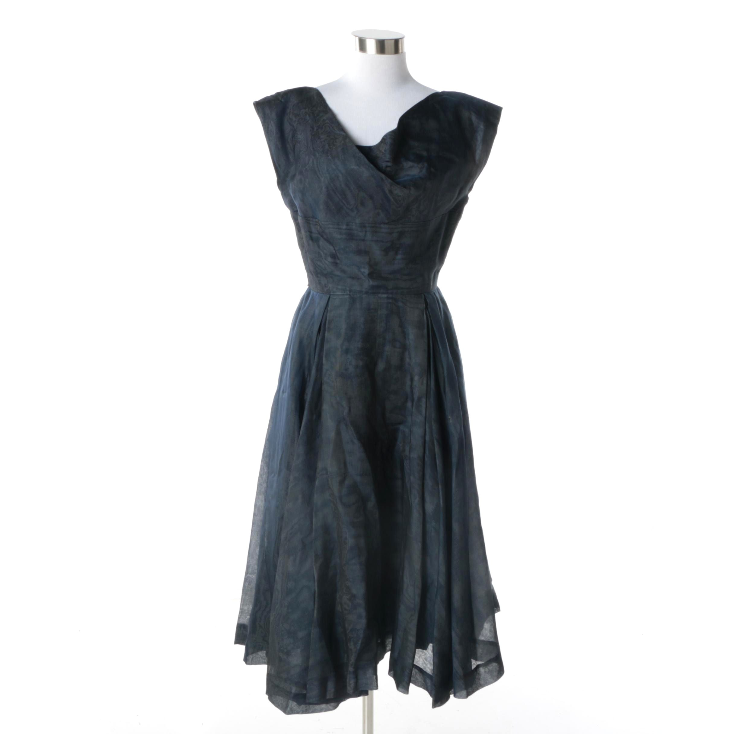 1950s Vintage Henri Bendel of New York Navy Cocktail Dress with Drape Neck