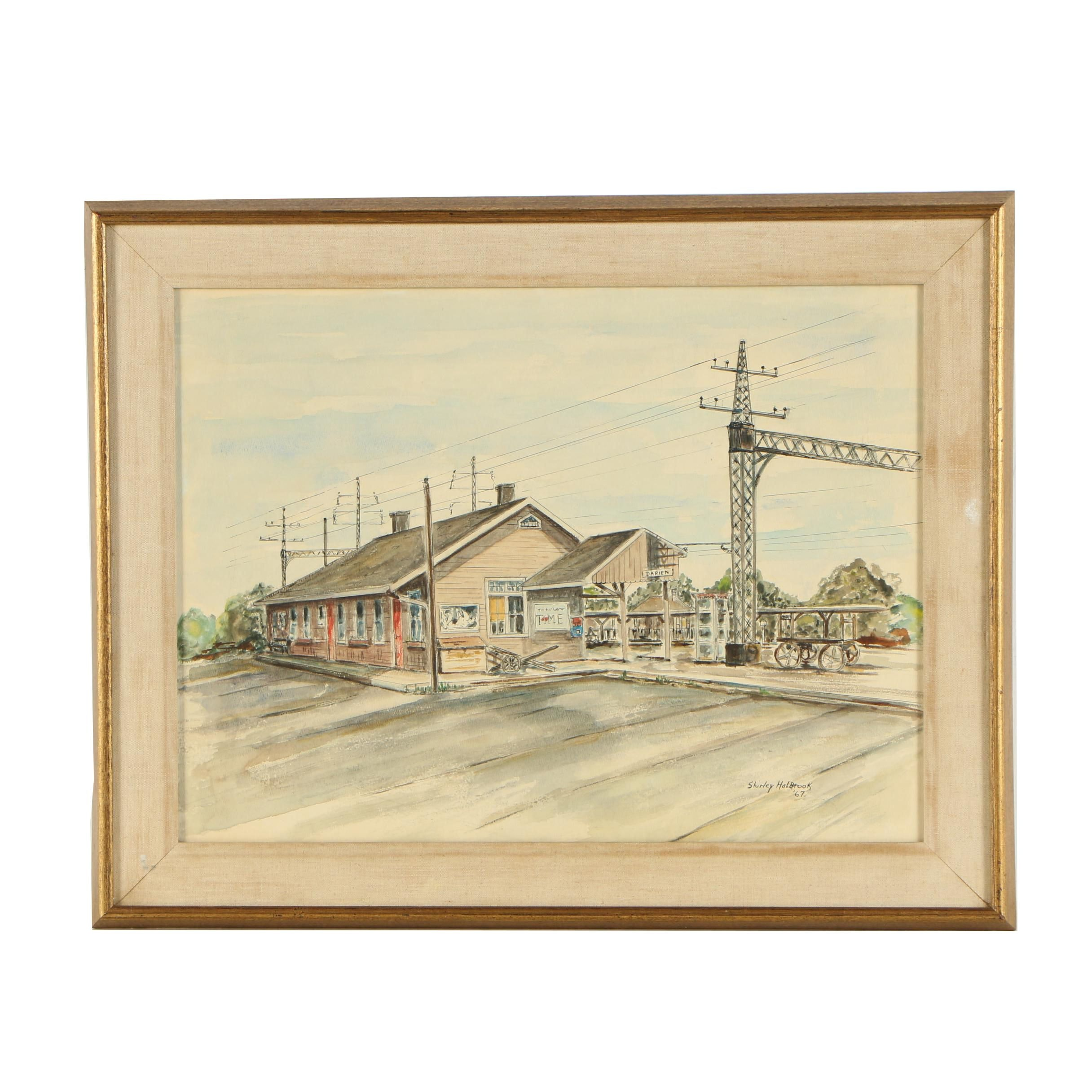 Shirley Holbrook 1967 Watercolor and Gouache Painting of Train Station