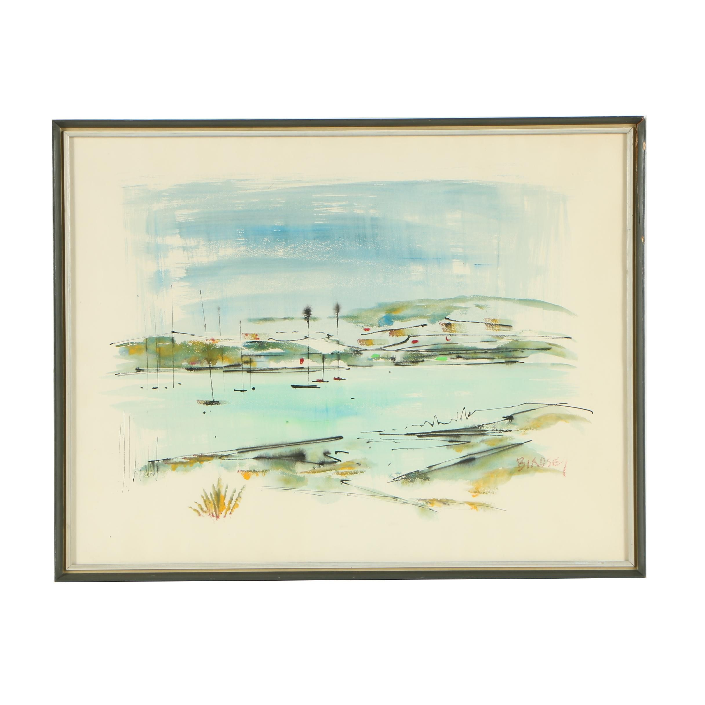 Alfred Birdsey Watercolor and Gouache Abstract Coastal Painting