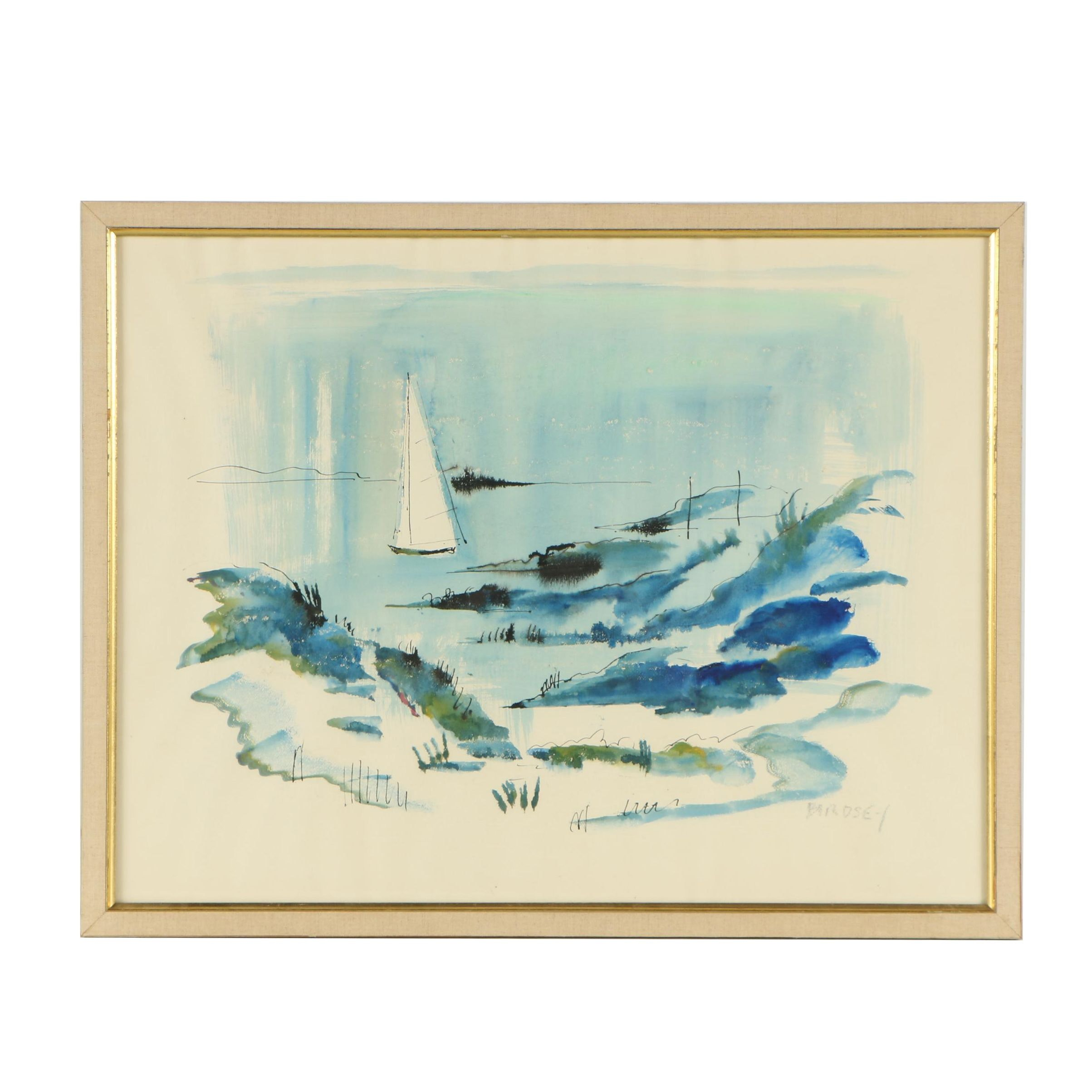 Alfred Birdsey Watercolor Painting Depicting Sailboat