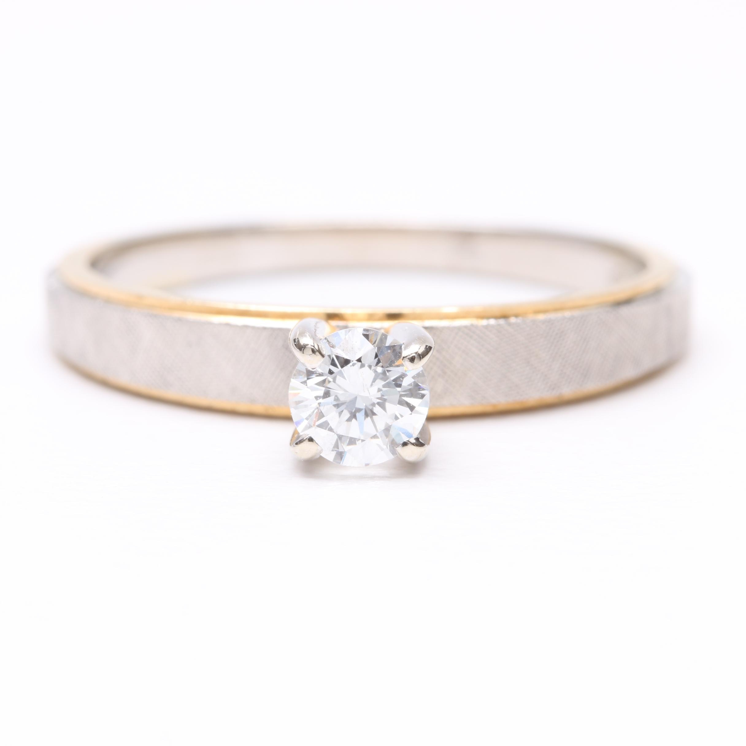 14K White Gold Diamond Solitaire Ring with Yellow Gold Accents