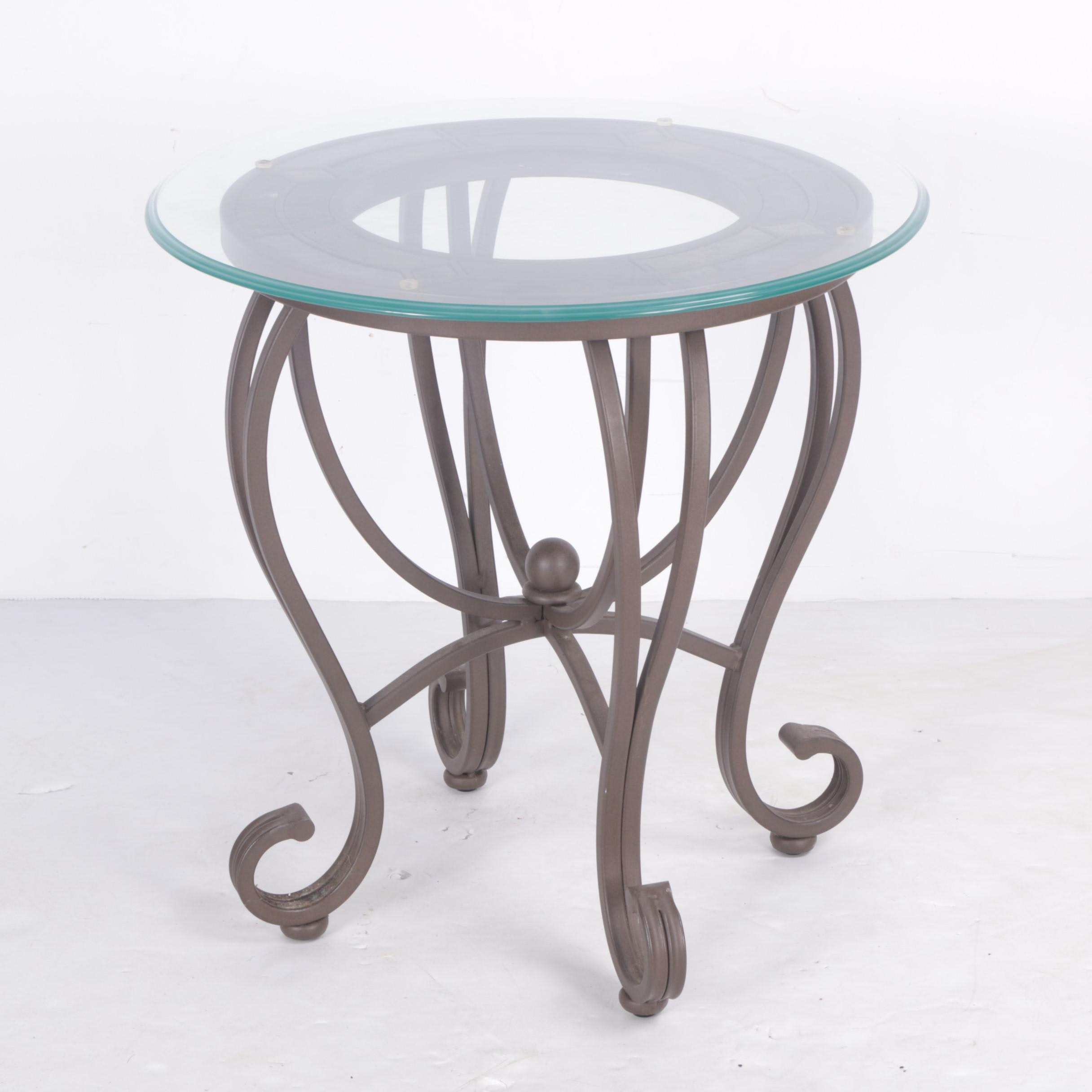 Glass Top Wrought Iron and Slate Accent Table