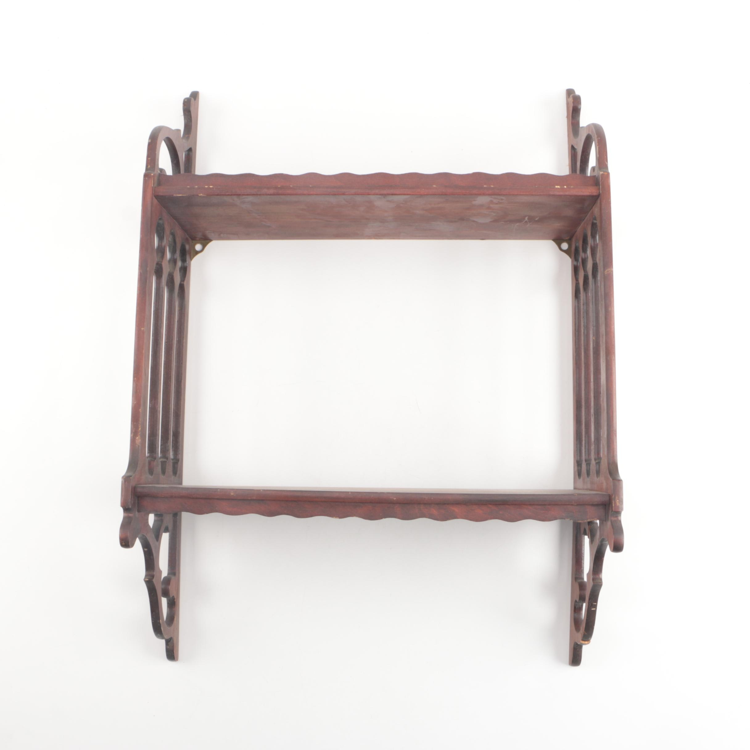 Vintage Two-Tiered Wooden Wall Shelf