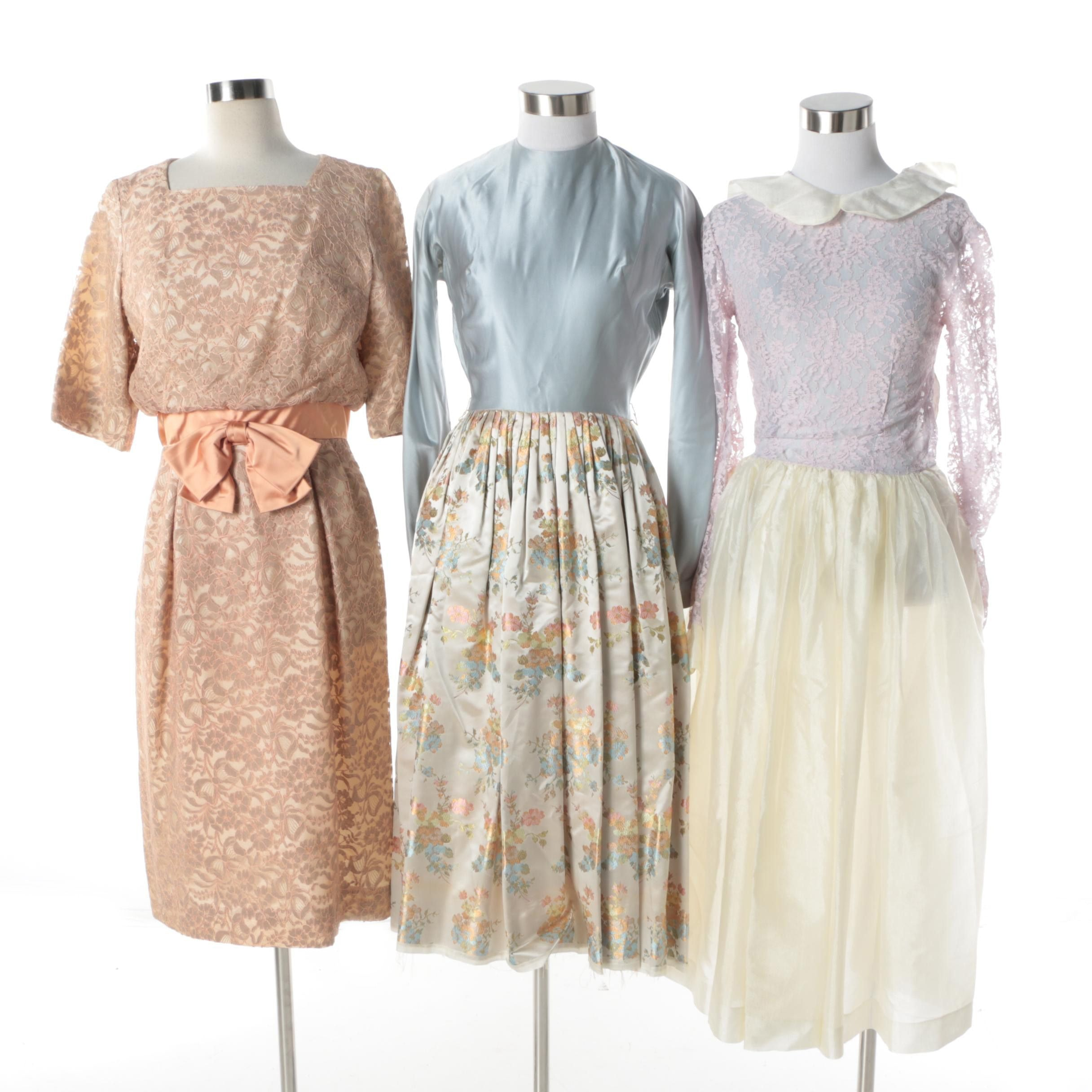 Circa 1960s Vintage Floral, Lace, and Brocade Cocktail Dresses