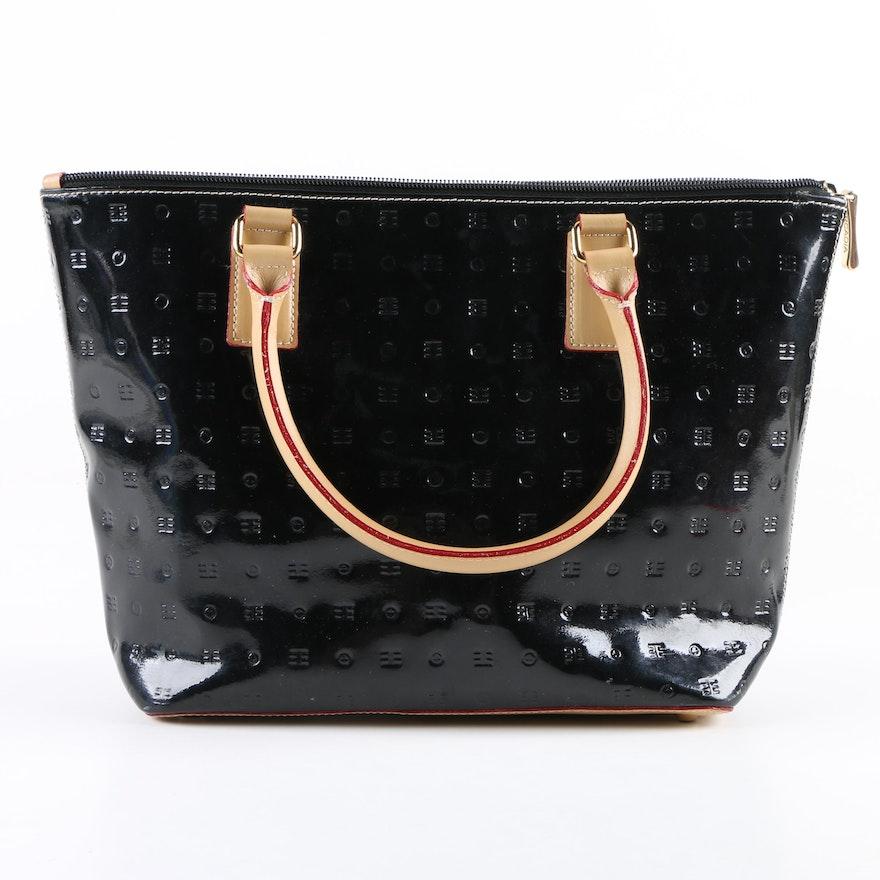 e2253c1fb8c1 Arcadia Black Embossed Logo Patent Leather Tote Bag   EBTH