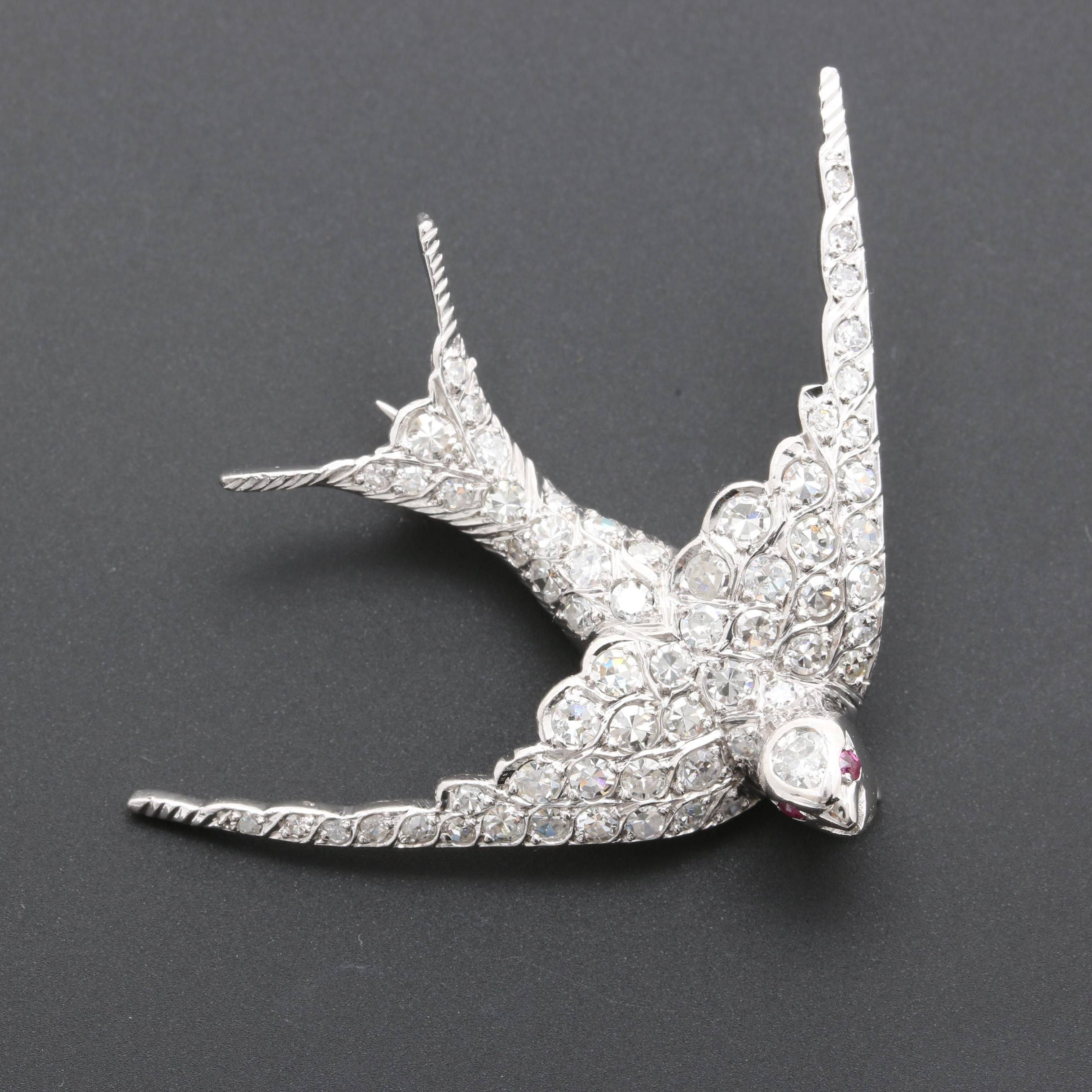 14K White Gold and Platinum 1.75 CTW Diamond and Ruby Bird Brooch