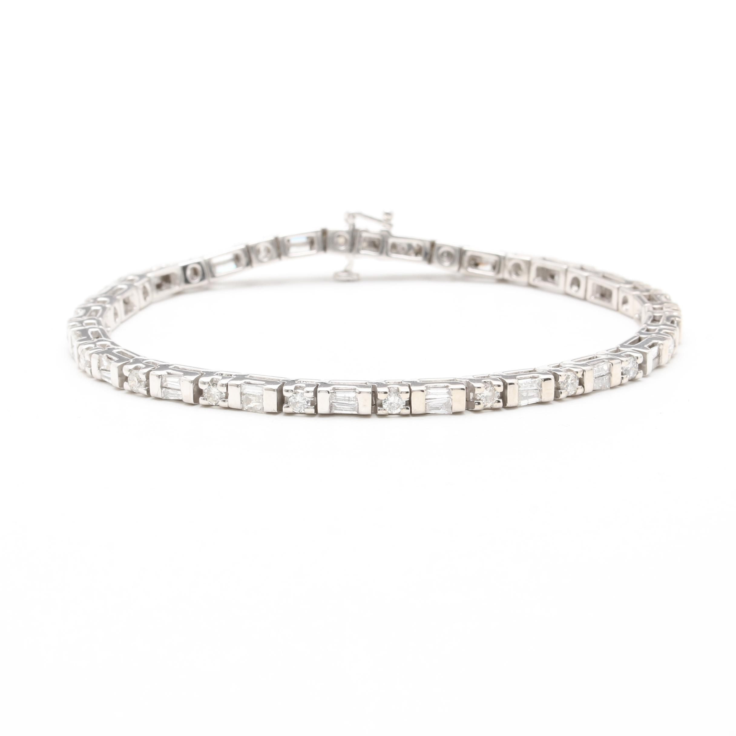 14K White Gold 2.41 CTW Diamond Tennis Bracelet