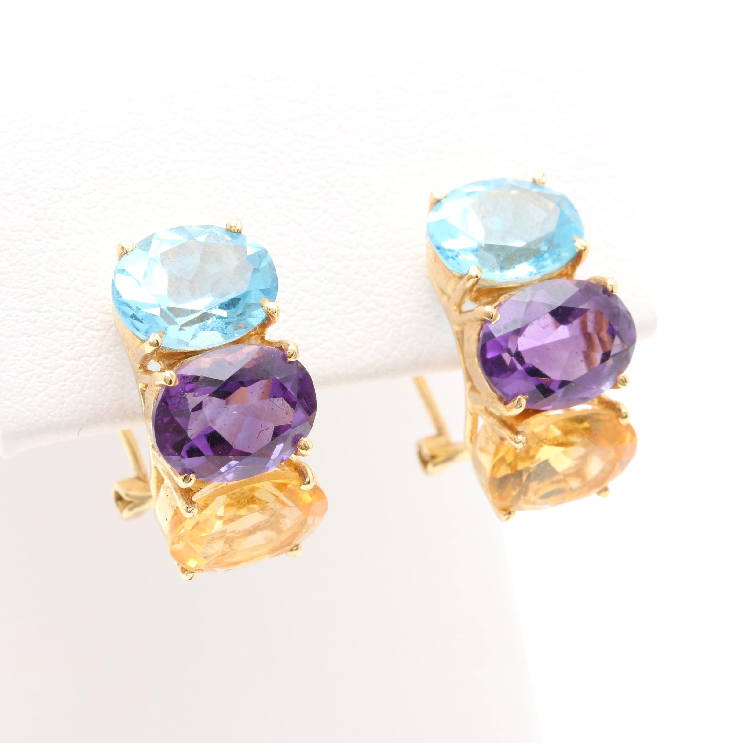 14K Yellow Gold Amethyst, Citrine, and Blue Topaz Earrings