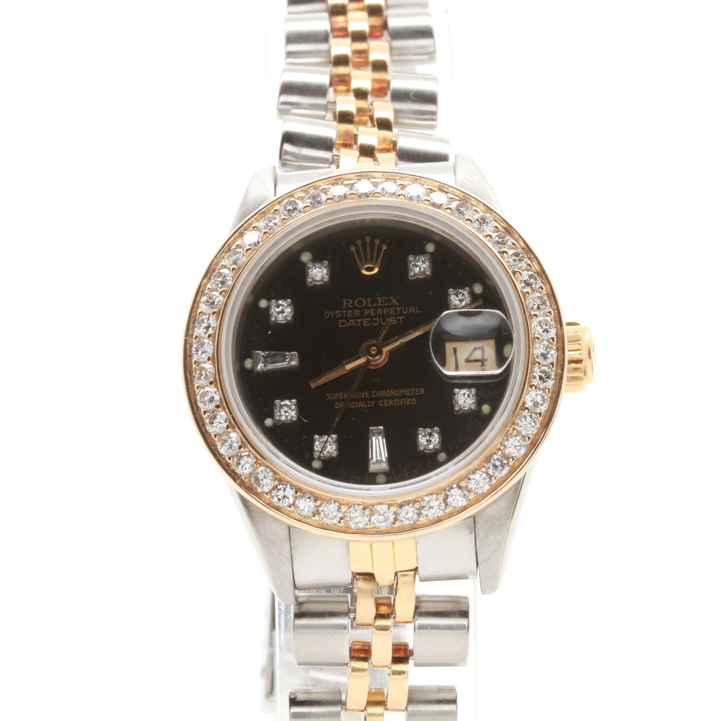 Circa 1986 Rolex Stainless Steel and 18K Yellow Gold 1.04 CTW Diamond Wristwatch