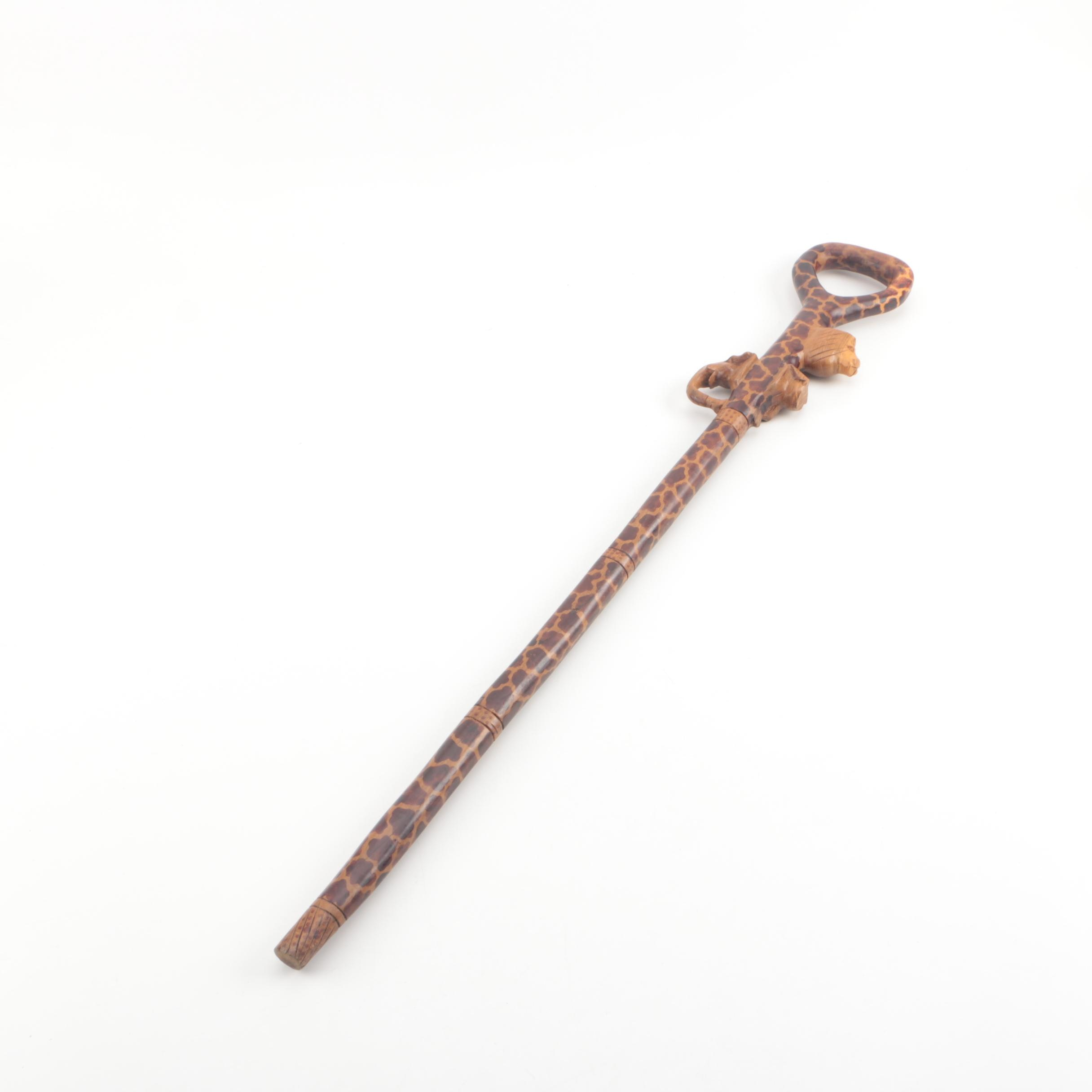 Carved African Themed Wooden Cane with Figural Handle Grip