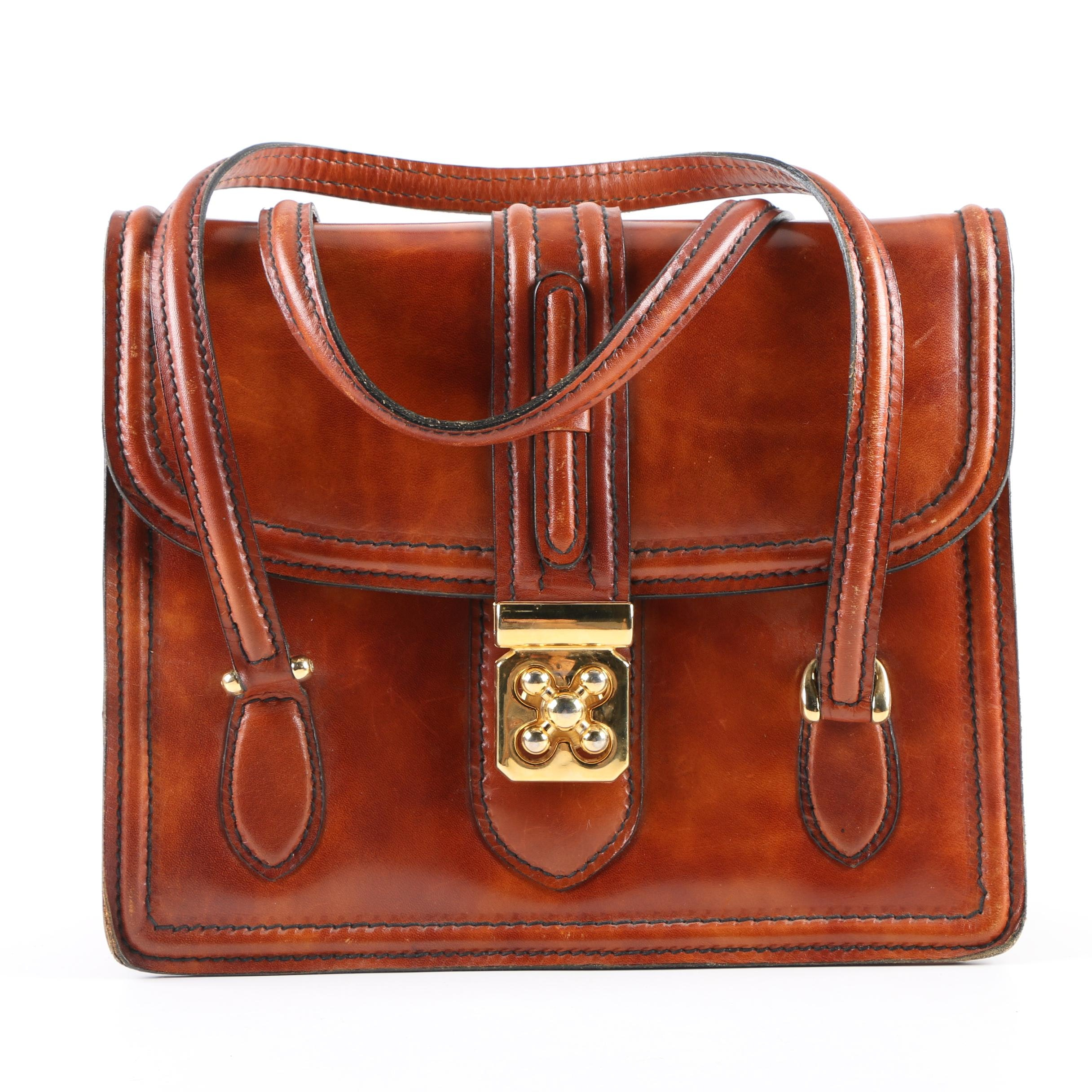 1960s Vintage Descagni of Italy Cognac Leather Satchel