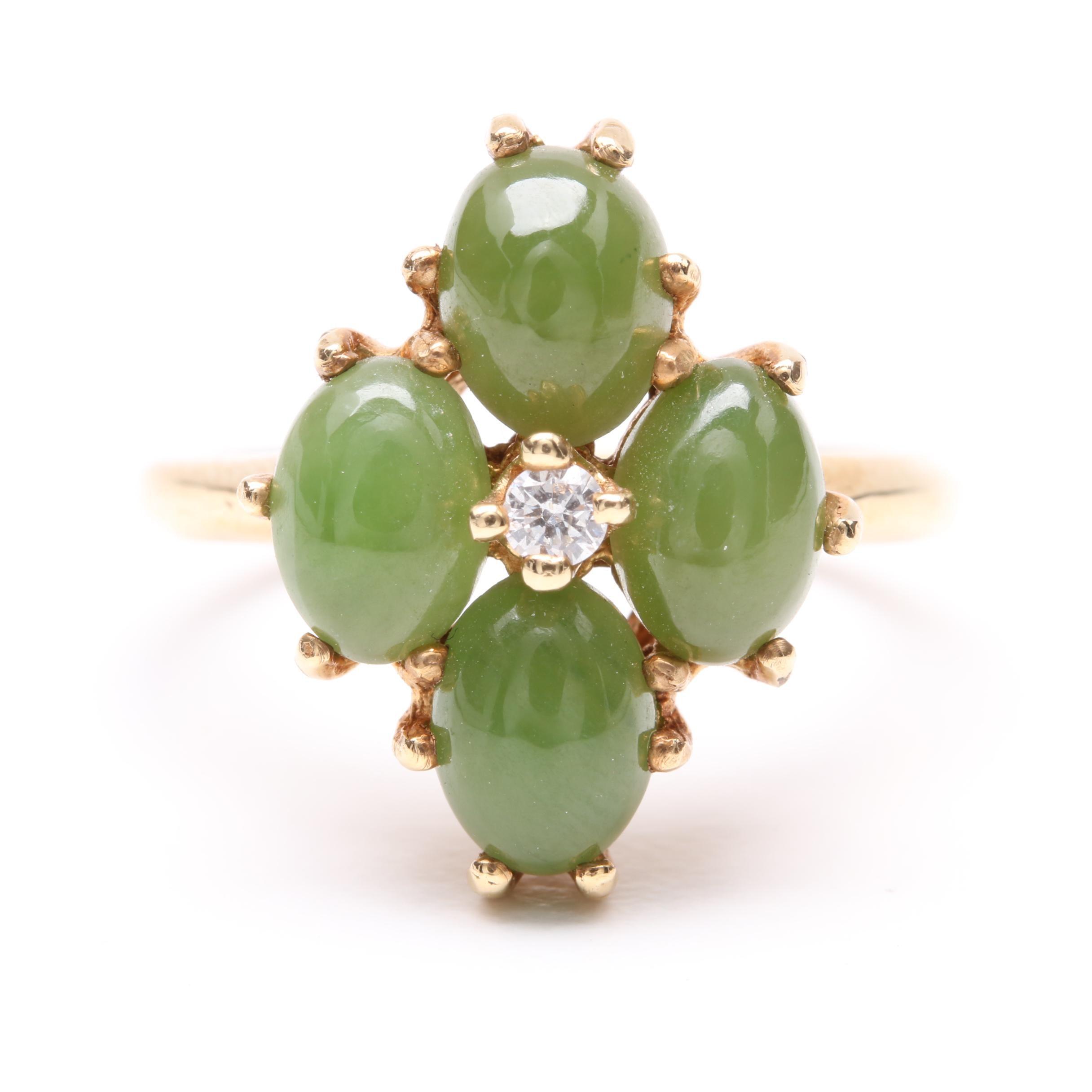 14K Yellow Gold Diamond and Nephrite Ring