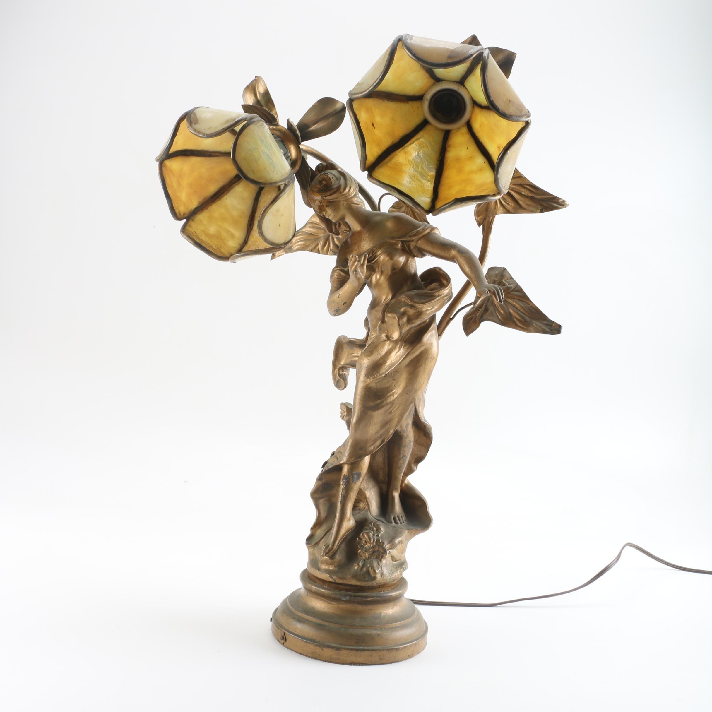 Early 20th Century Art Nouveau Figural Table Lamp with Stained Glass Shades