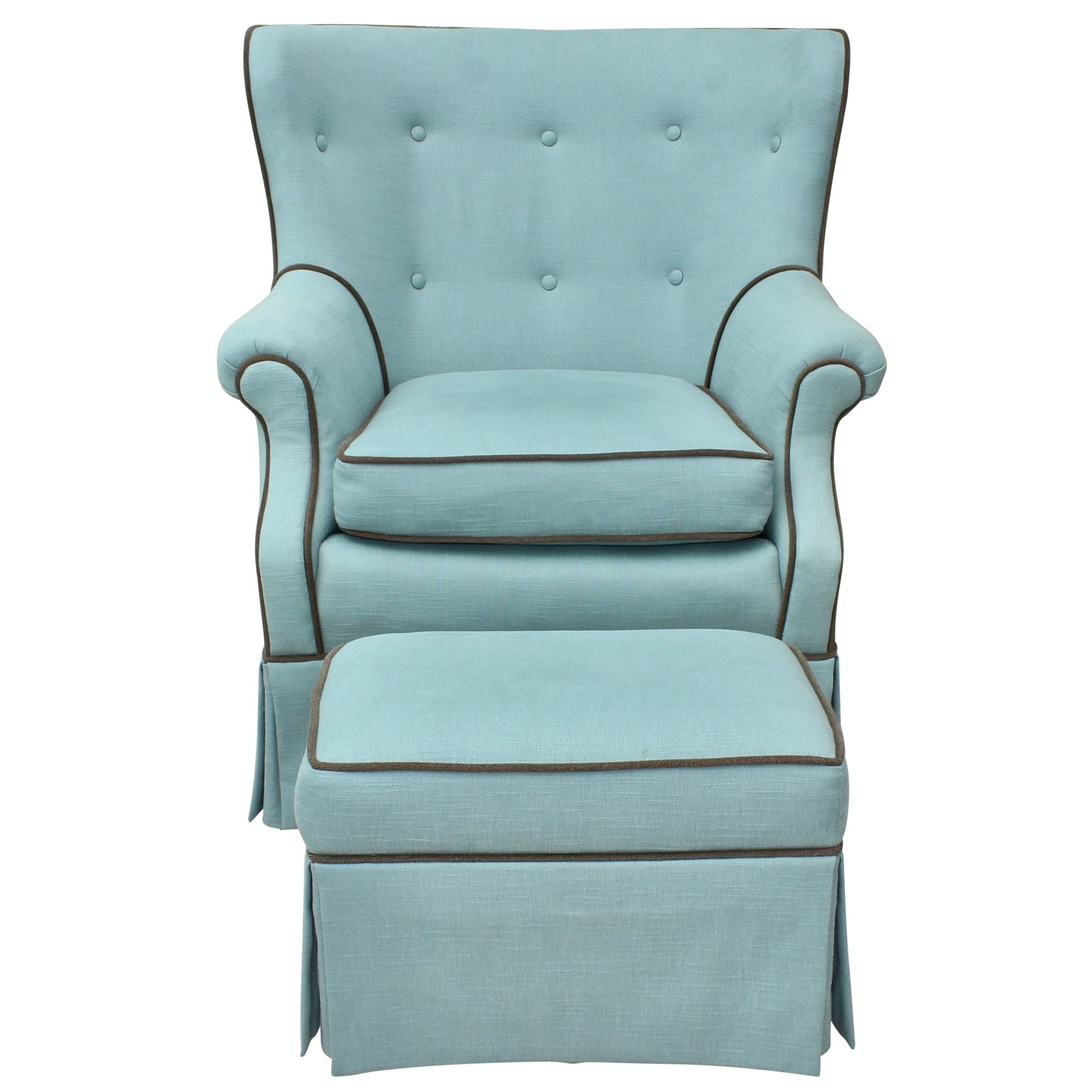 Tufted Upholstered Armchair and Ottoman