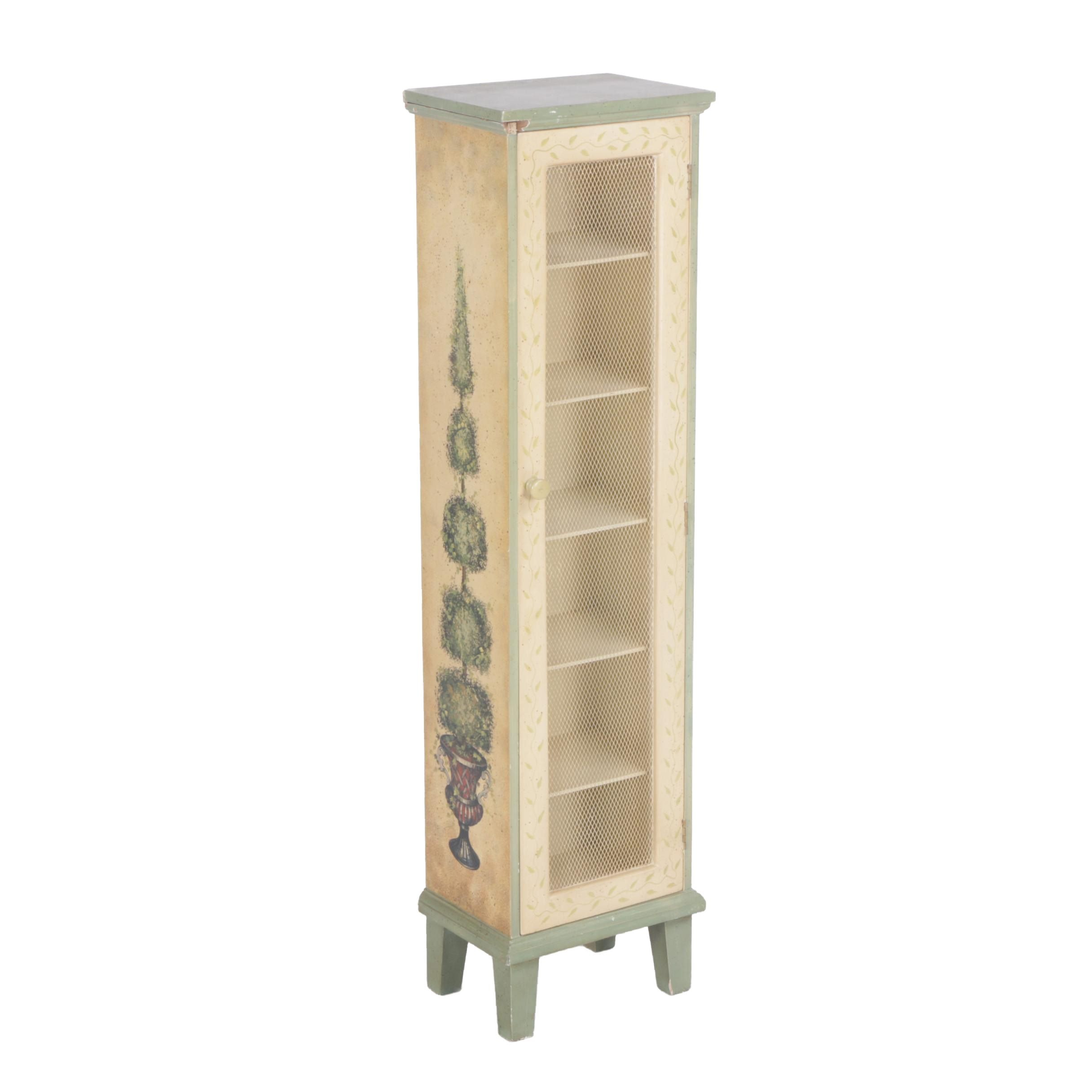Floral Five Drawer Wooden Cabinet With Mesh Front
