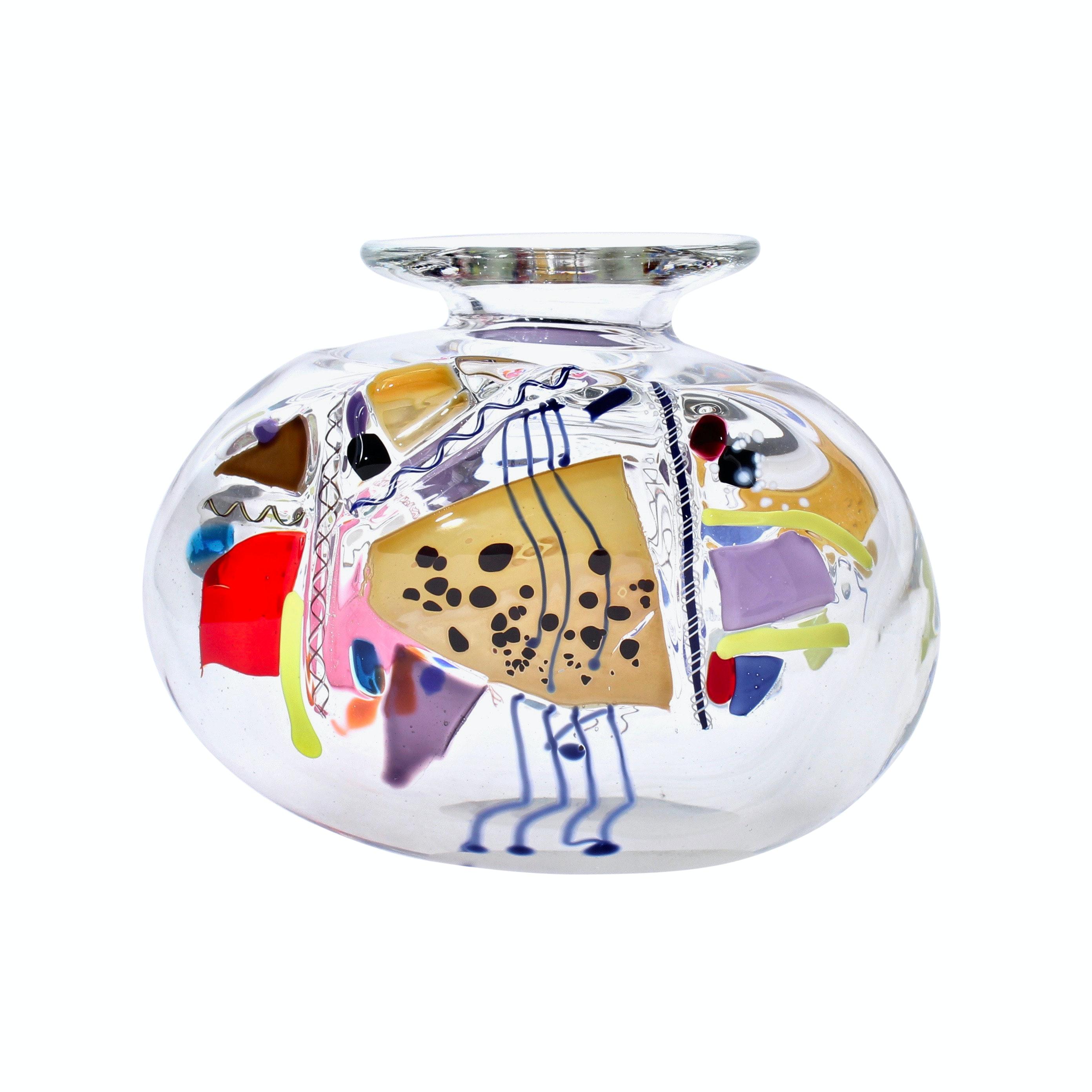 Signed Hand Blown Modern Art Glass Vase