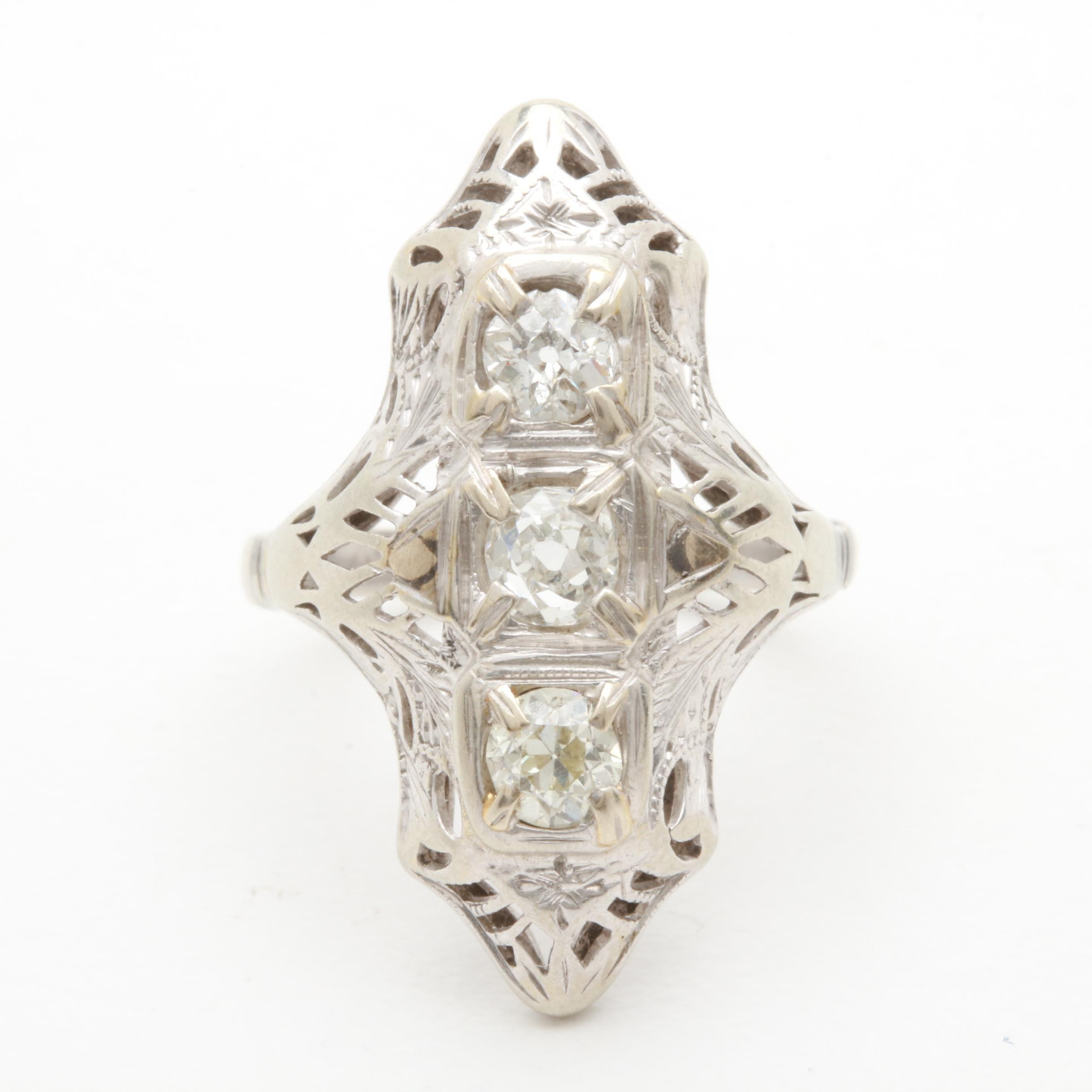 Edwardian 14K and 18K White Gold Diamond Ring