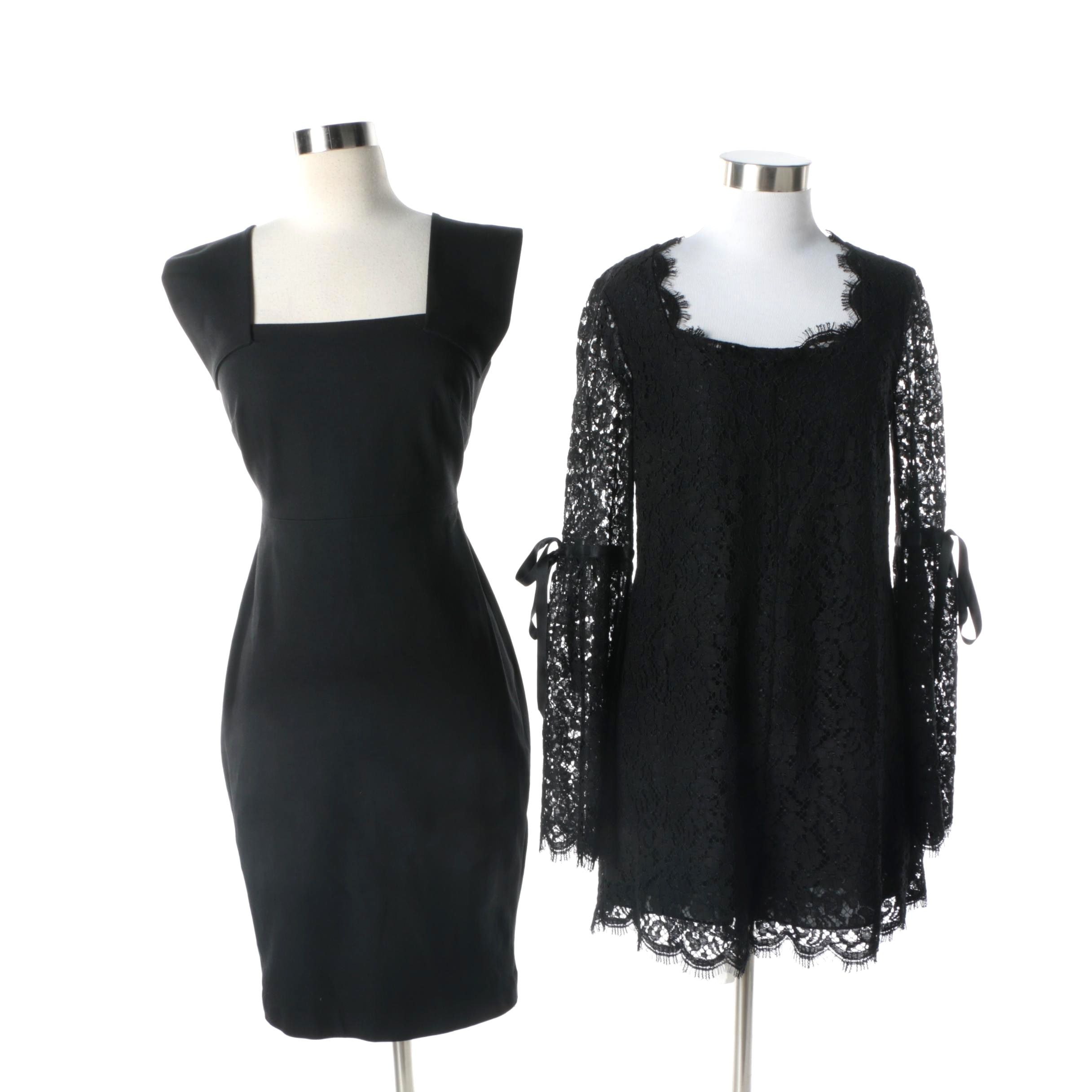 Rachel Zoe Black Lace Romper and Roland Mouret for Banana Republic Black Dress