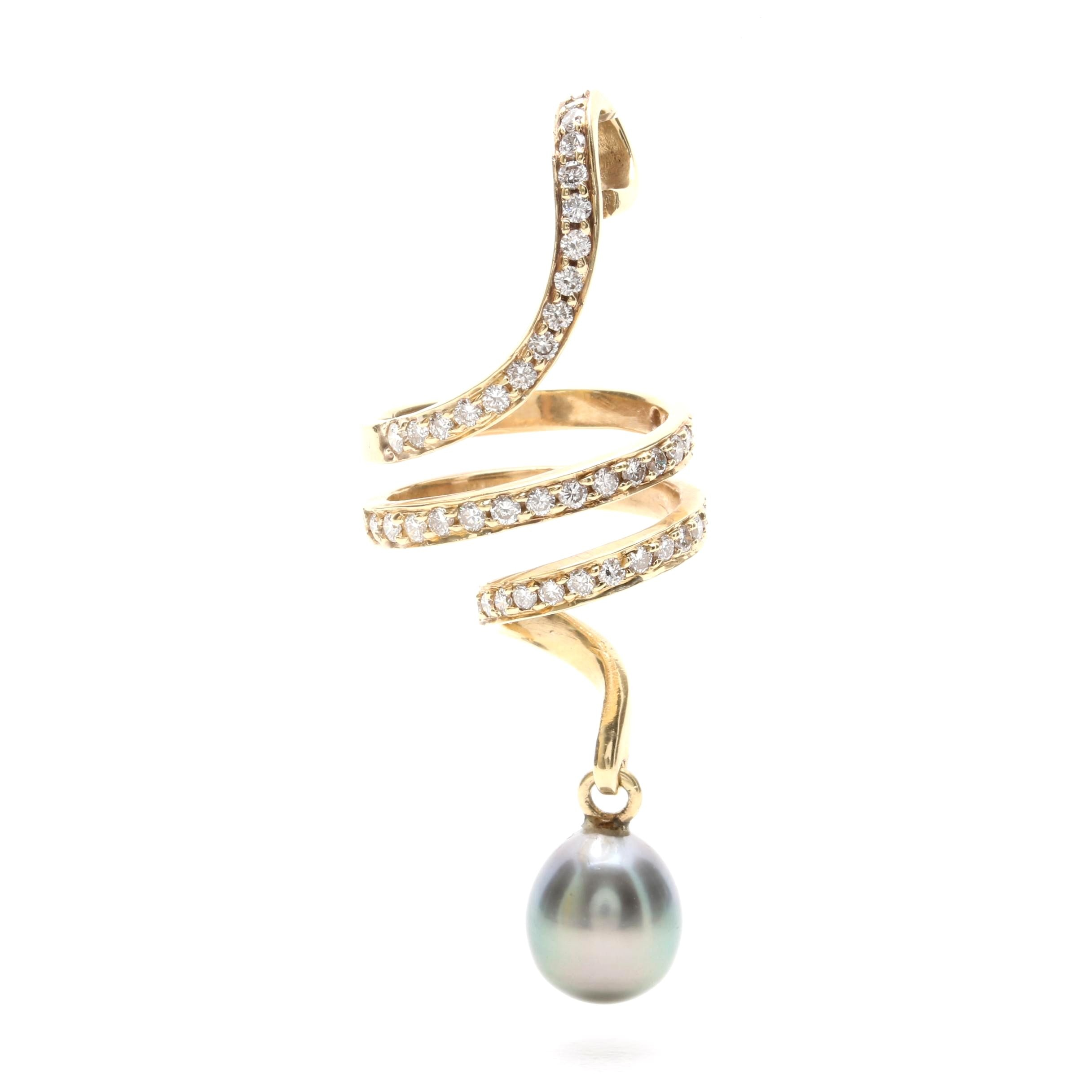 14K Yellow Gold Diamond and Grey Cultured Pearl Pendant