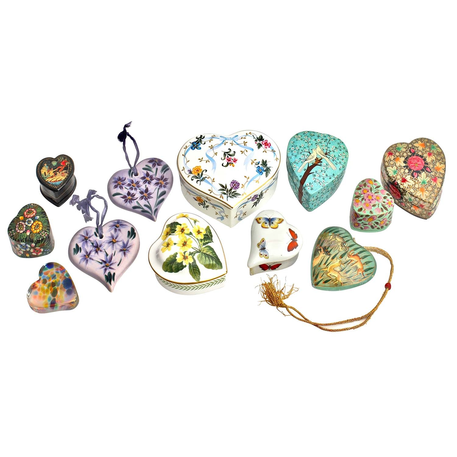 Heart-Shaped Trinket Boxes Including Limoges, Spode, and Hand-Painted Lacquer