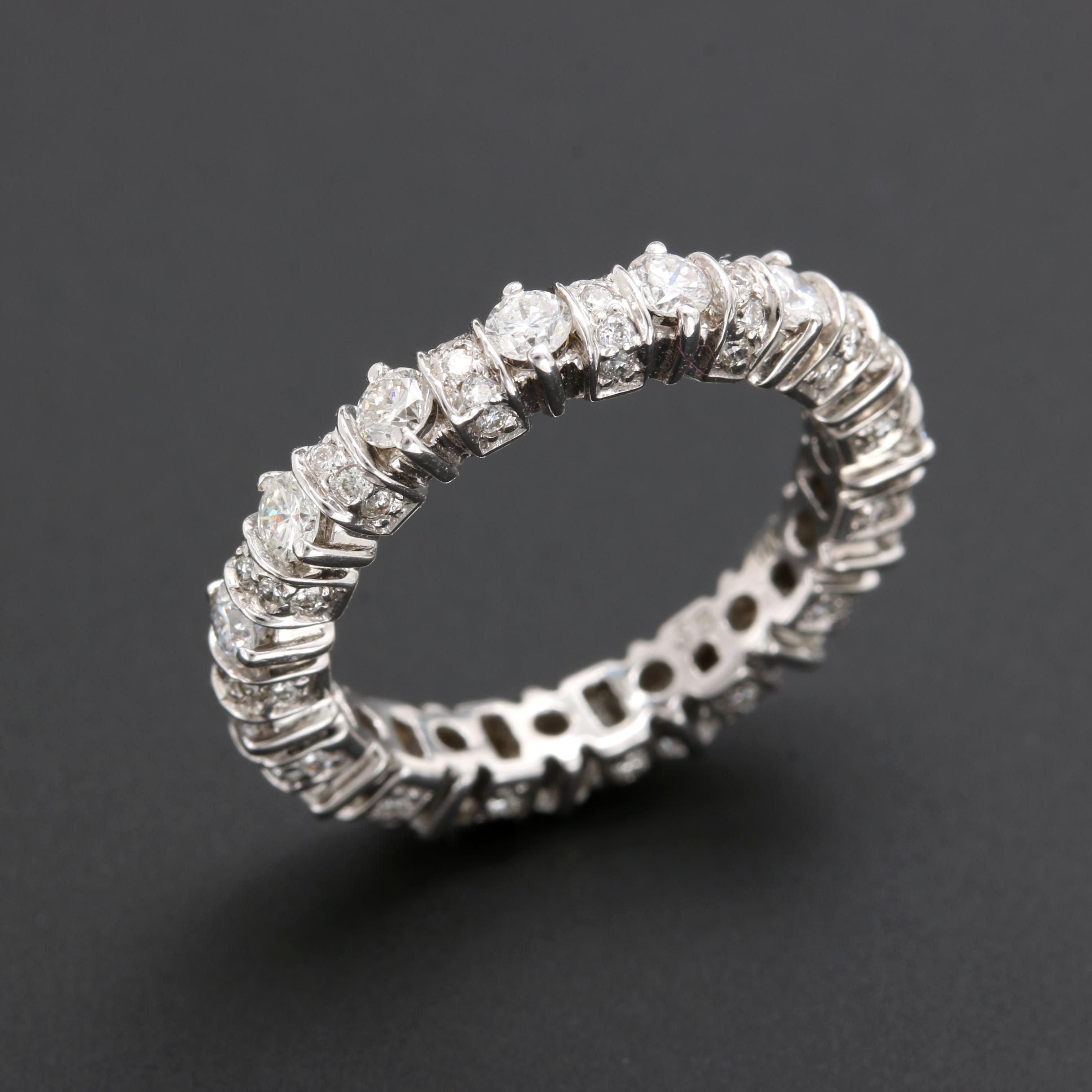 14K White Gold 1.27 CTW Diamond Eternity Ring