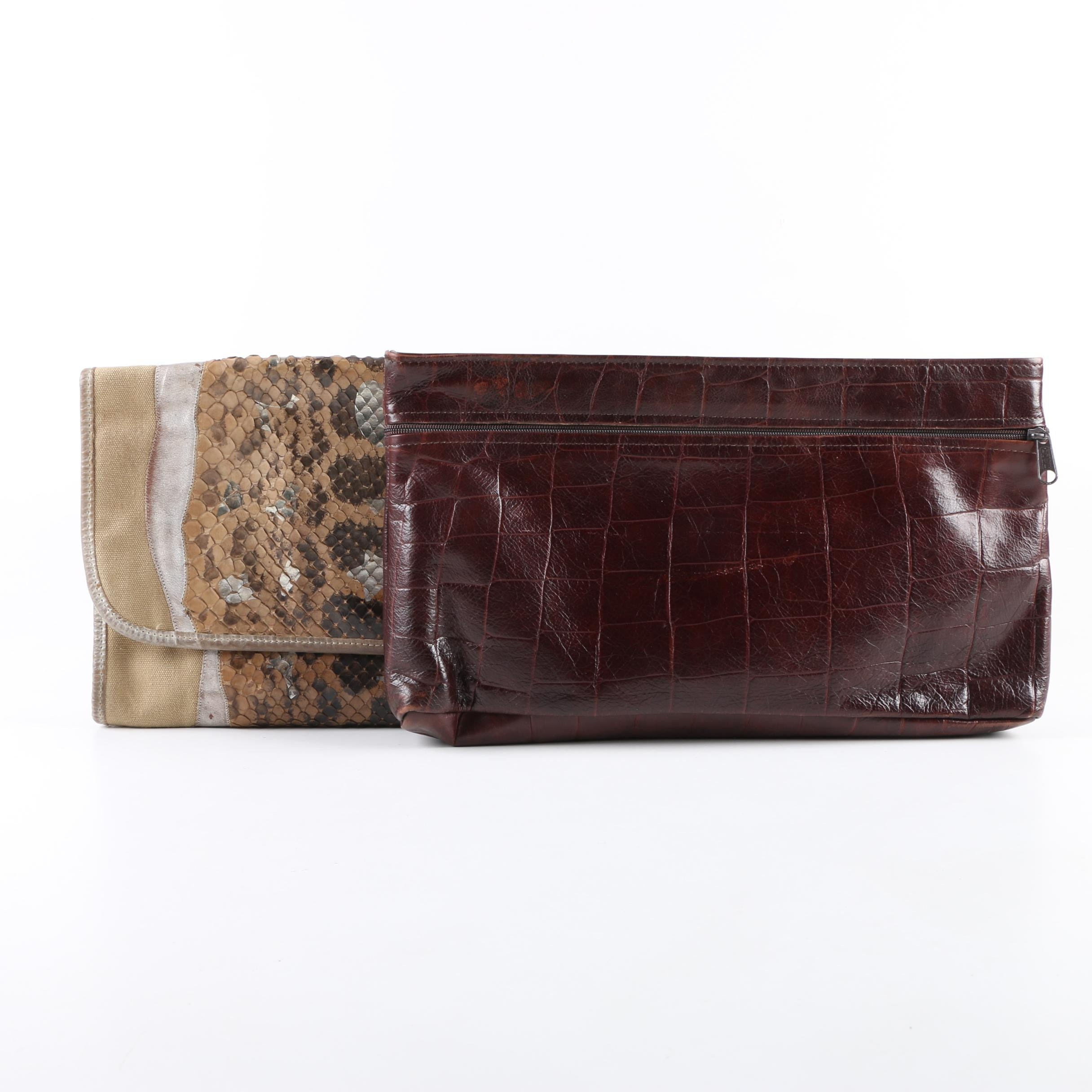 1980s Vintage Carlos Falchi Python and Crocodile Embossed Leather Clutches