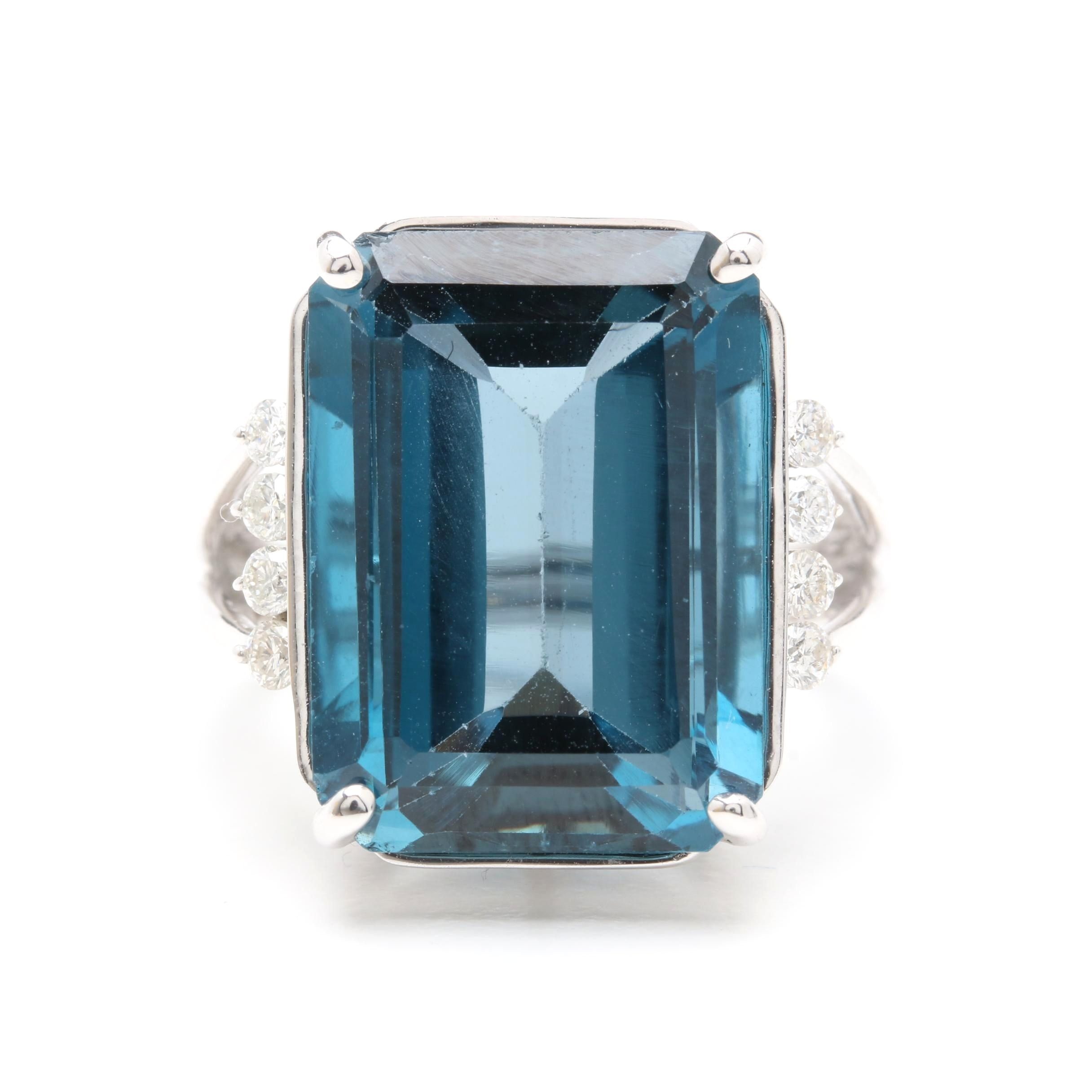 14K White Gold 19.38 CT Blue Topaz and Diamond Ring