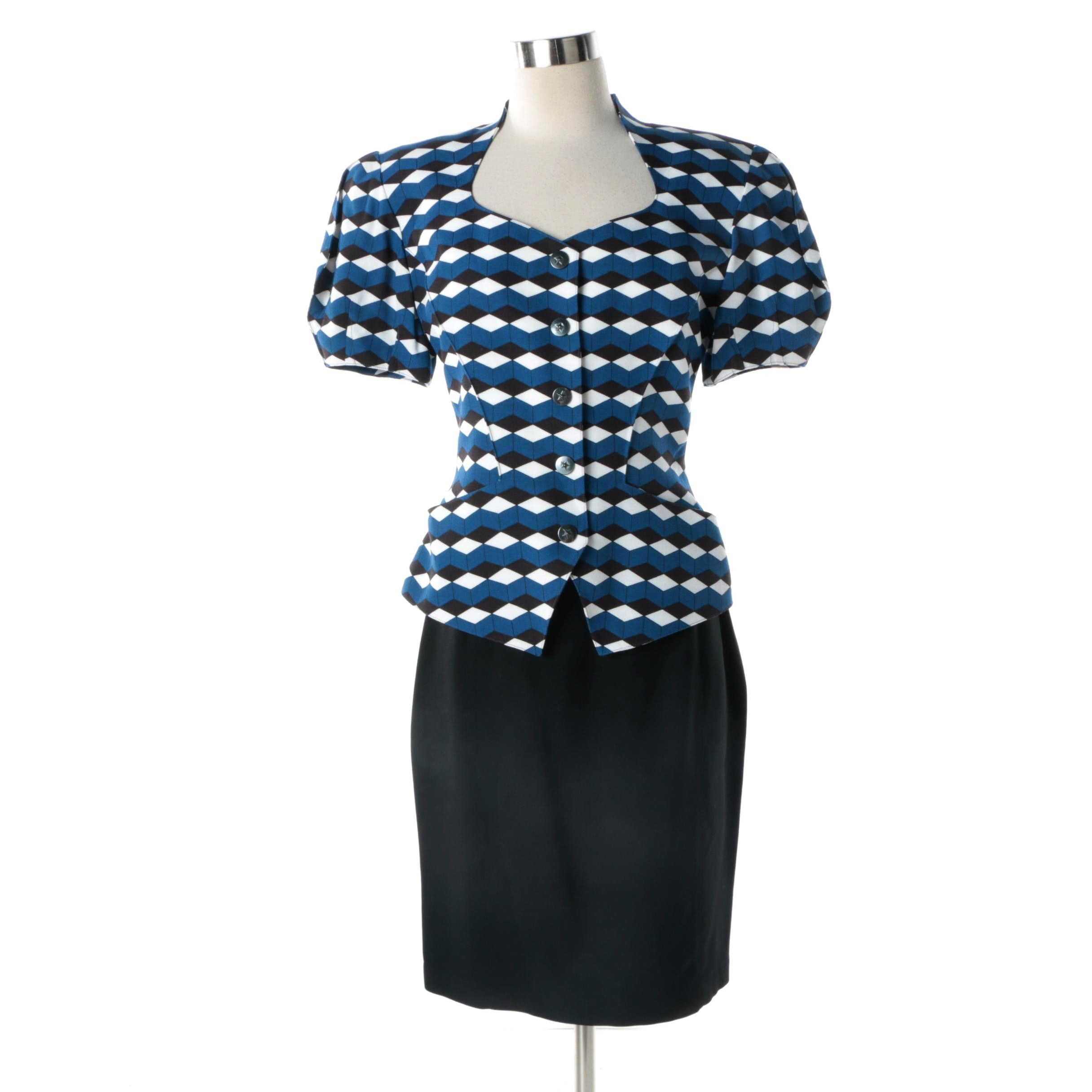 Women's 1980s Vintage Thierry Mugler of Paris Blue, Black and White Skirt Suit