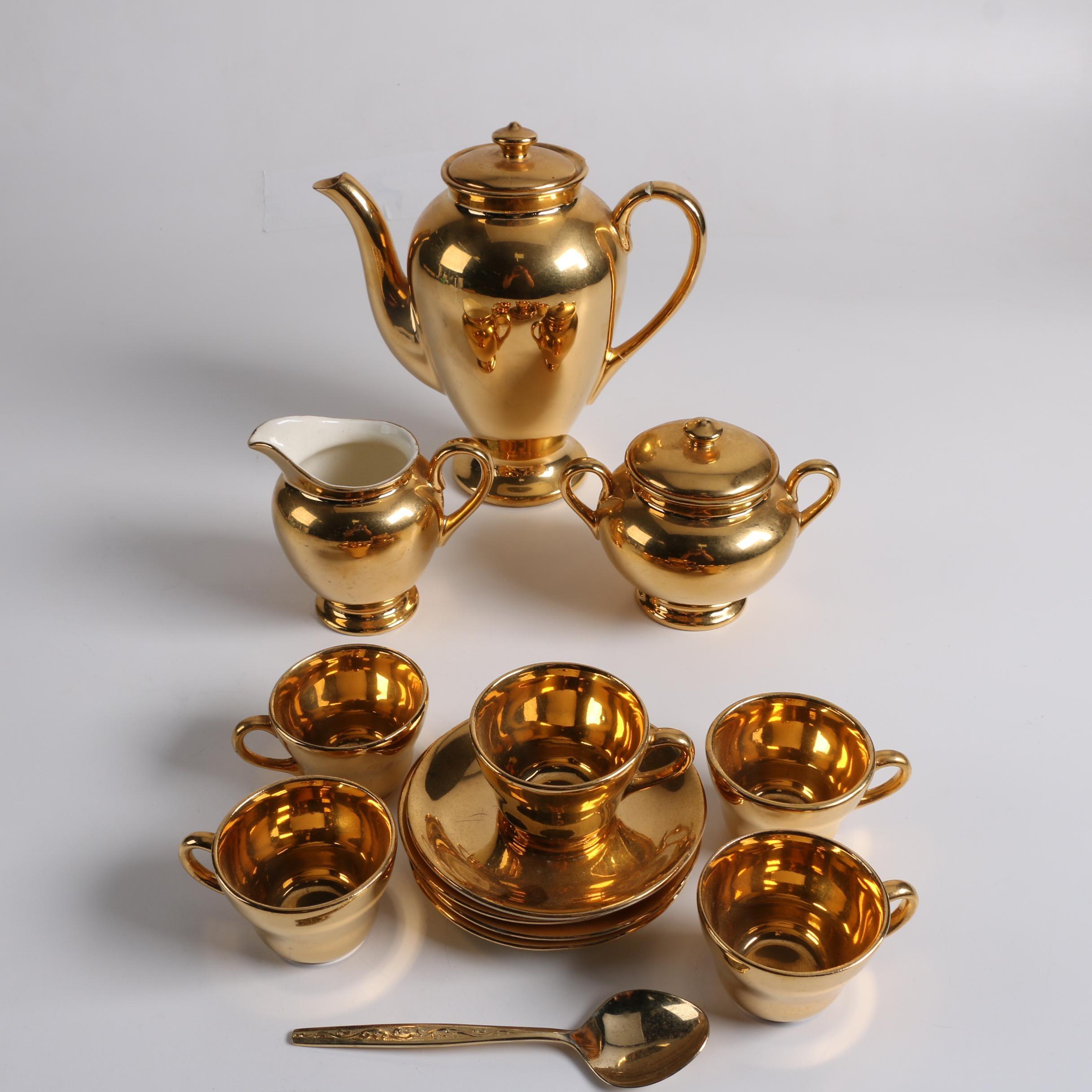 "Vintage Atlas ""Satin Gold"" 22 K Gold Plated China Tea Service"