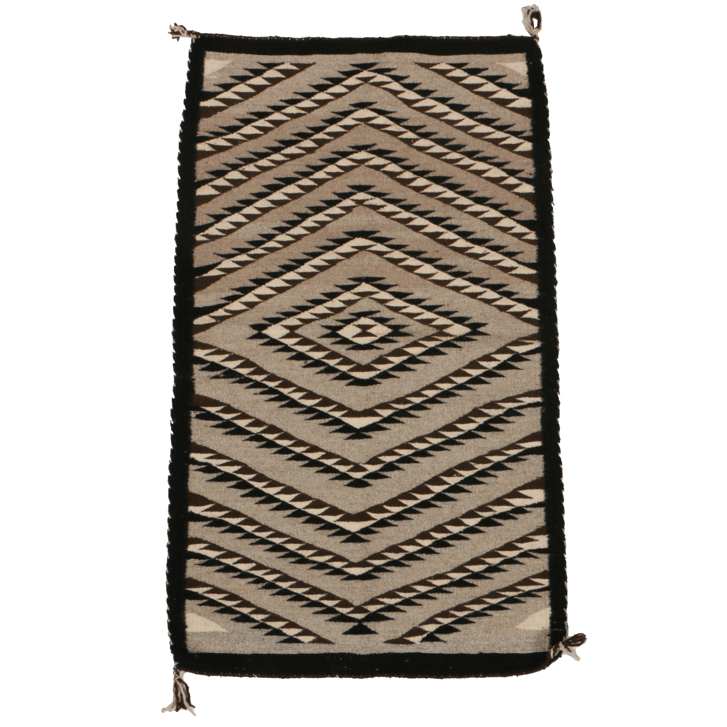 "Handwoven Navajo ""Eye Dazzler"" Wool Accent Rug, Mid 20th-Century"