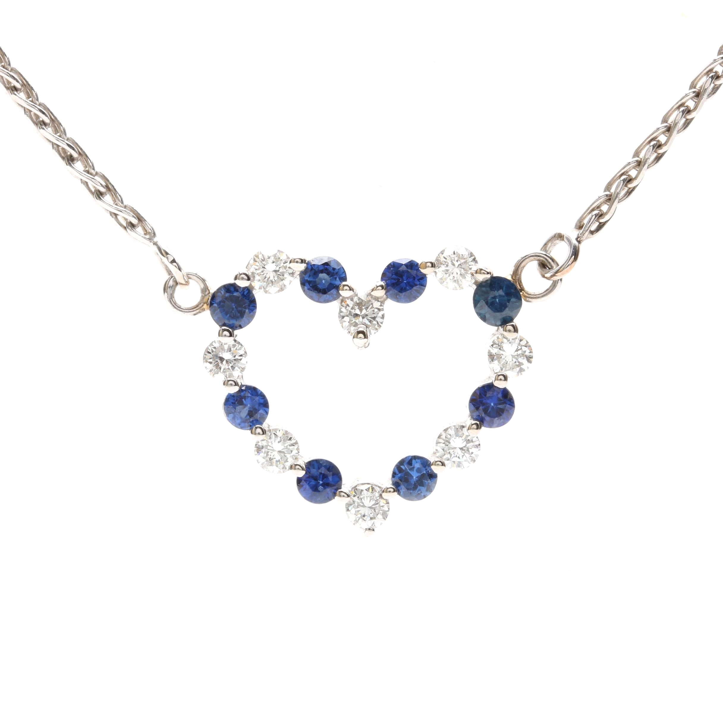14K White Gold Diamond and Sapphire Heart Necklace