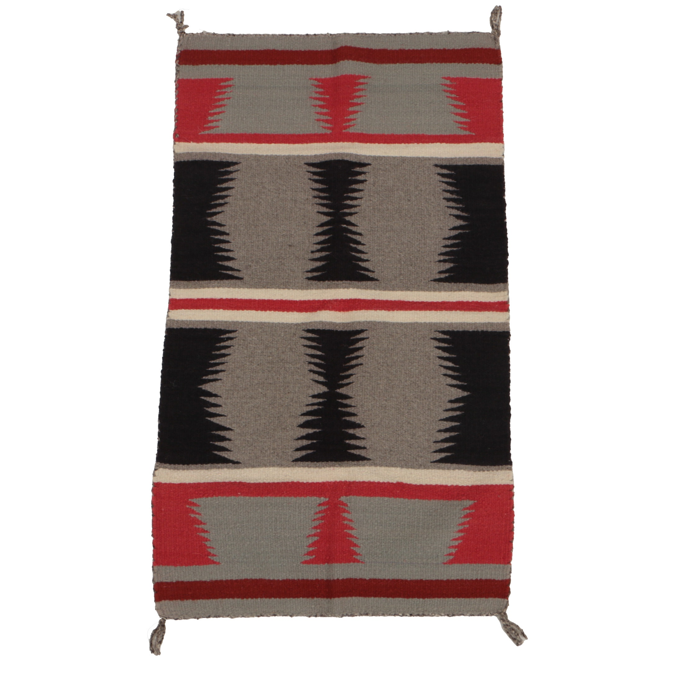 Vintage Handwoven Mexican Wool Accent Rug