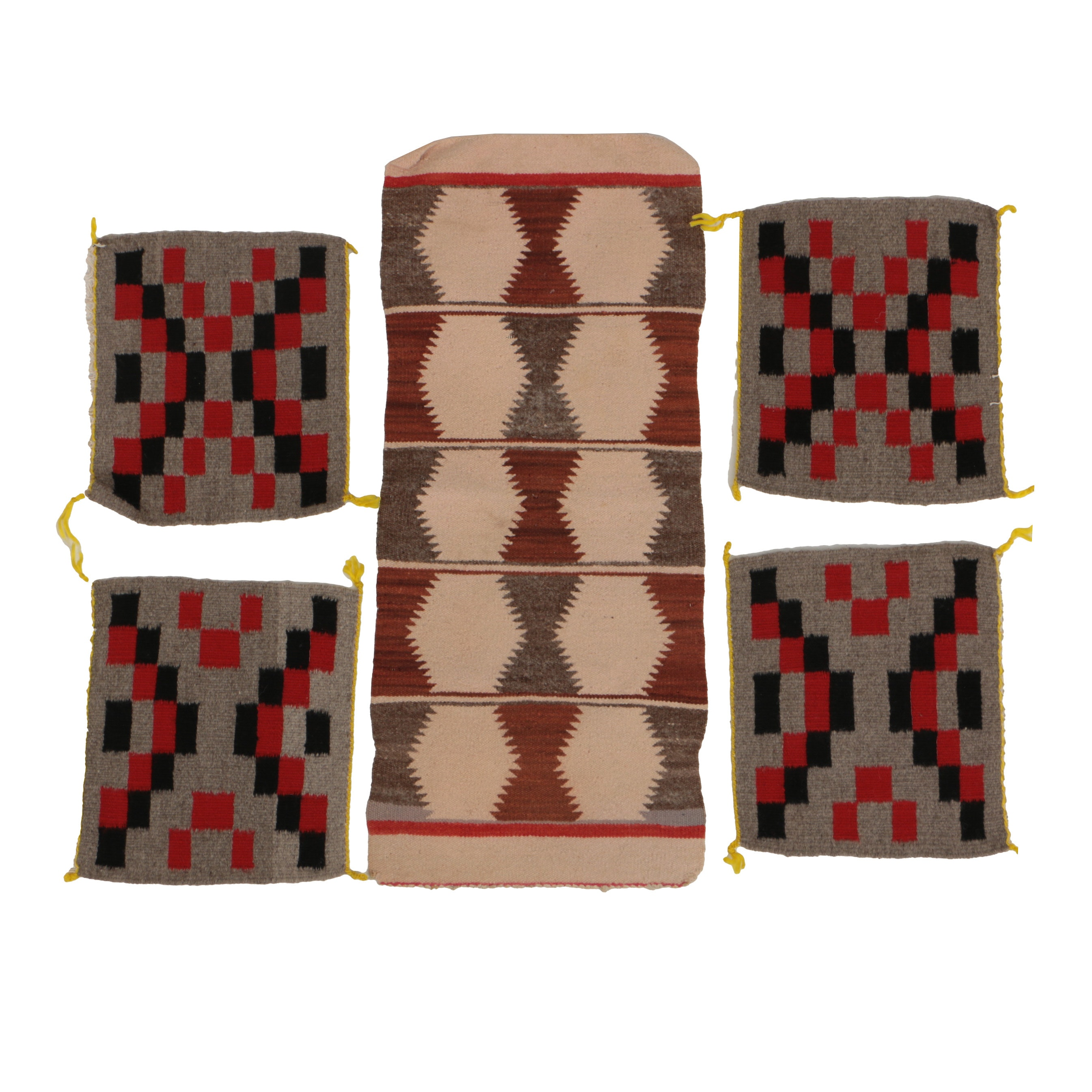 Navajo Hand Woven Accent Rug and Four Square Mats