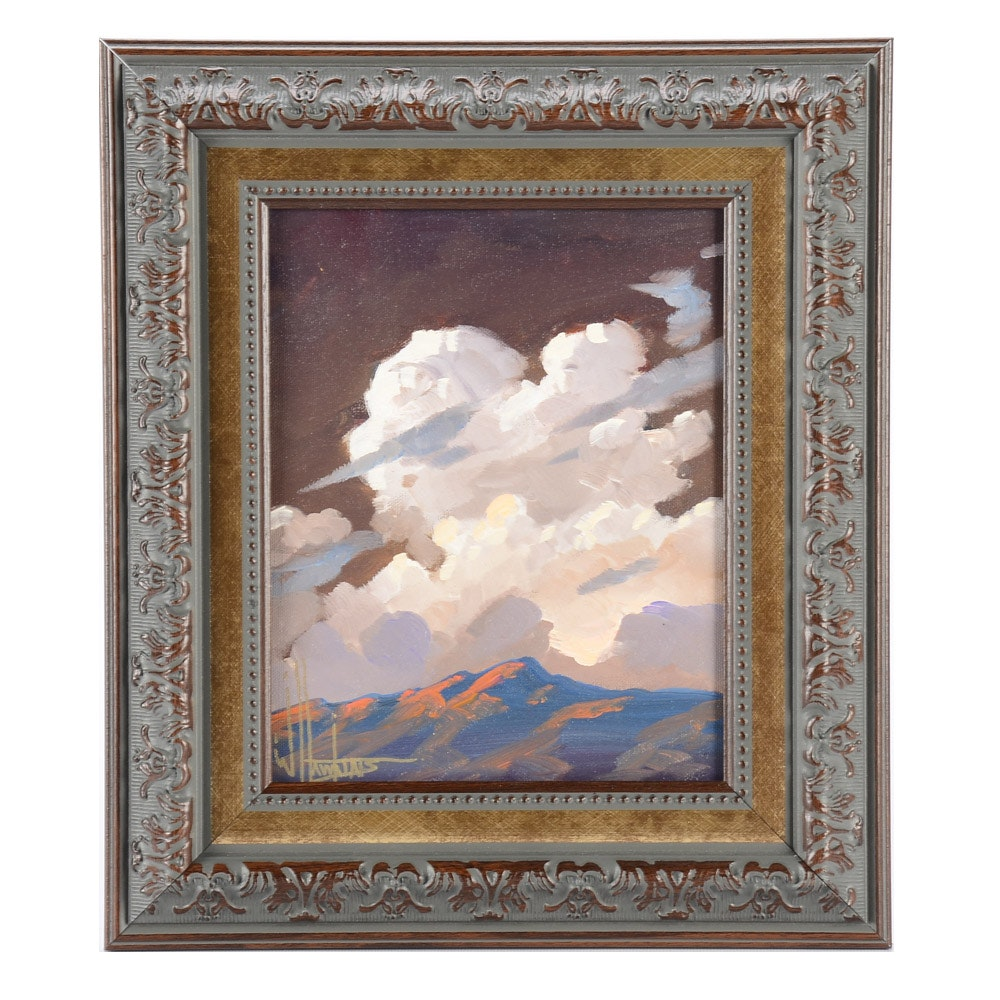 William Hawkins Oil Painting on Canvas Board of Clouds over Mountains