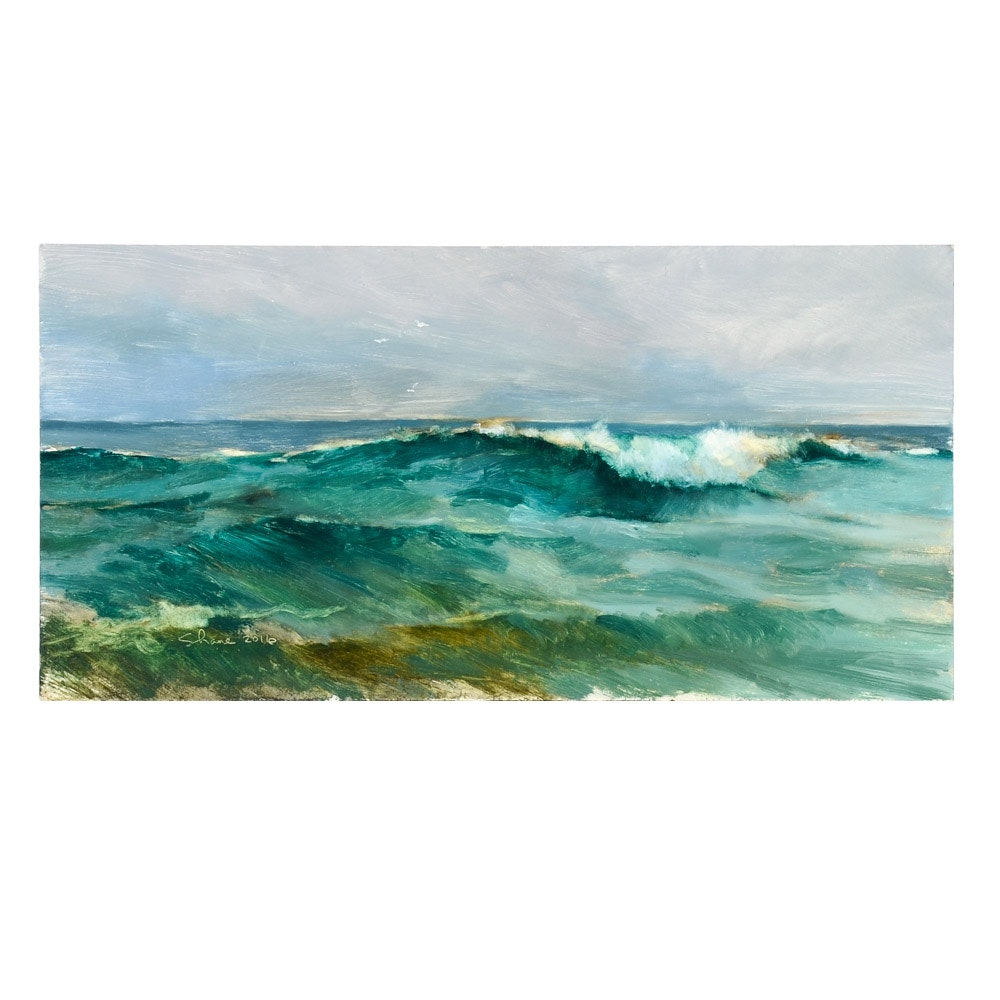 "Shane Harris Original Oil Painting on Wood Panel ""Ocean Wave"""