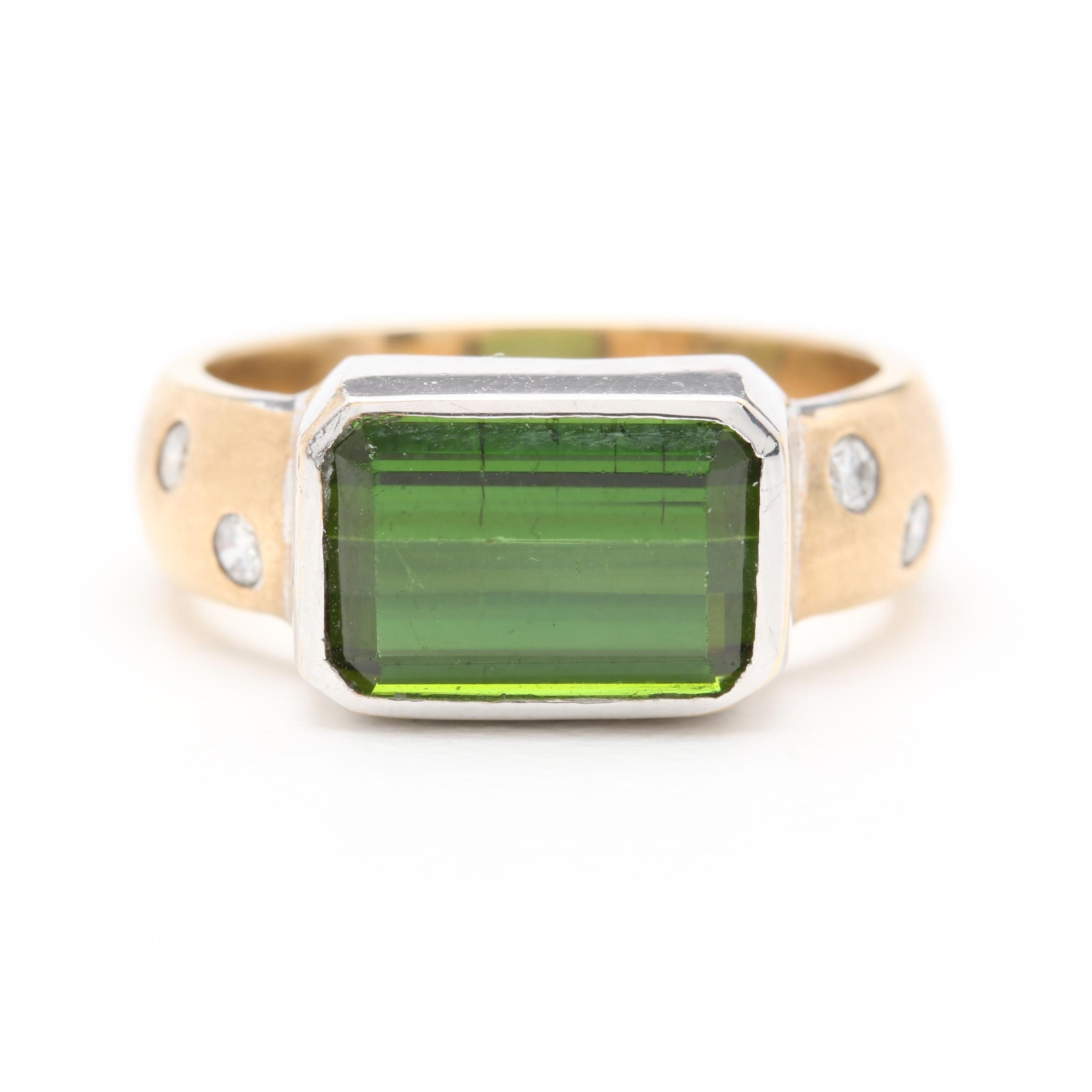 14K Yellow and White Gold Green Tourmaline and Diamond Ring