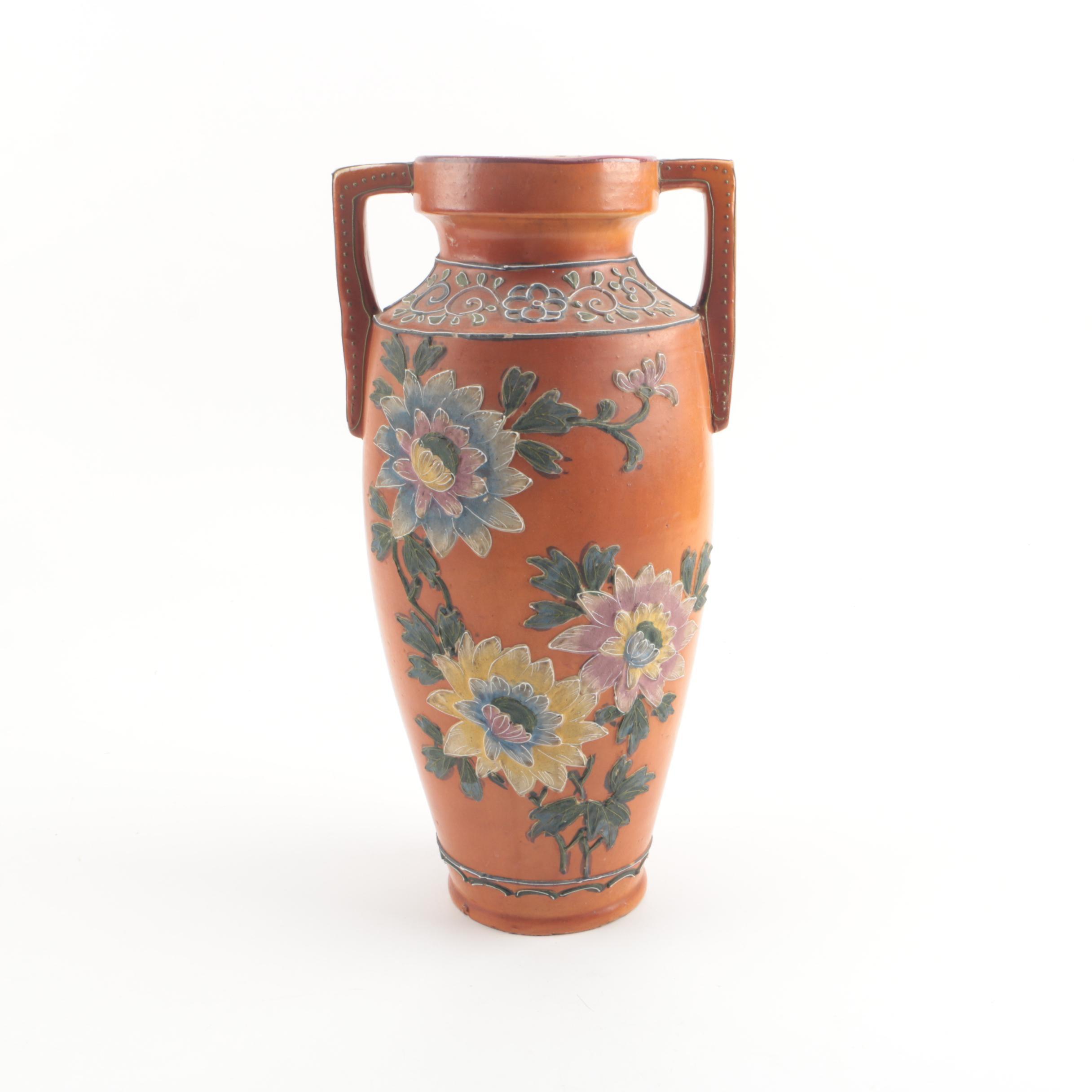 Vintage Japanese Hand-Painted Floral Ceramic Vase Lamp Base