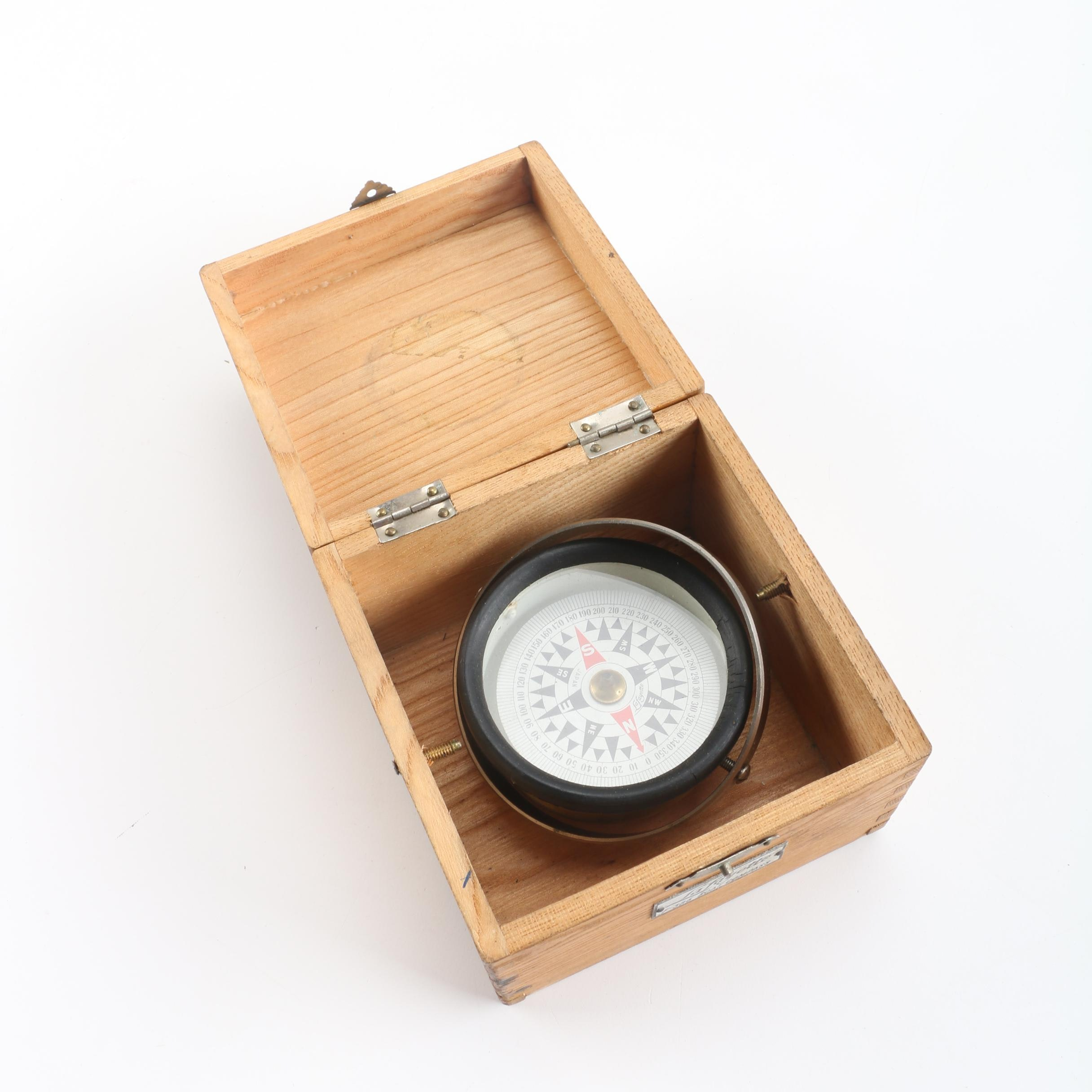 Vintage Lafayette F-386 Boat Compass in Wooden Box