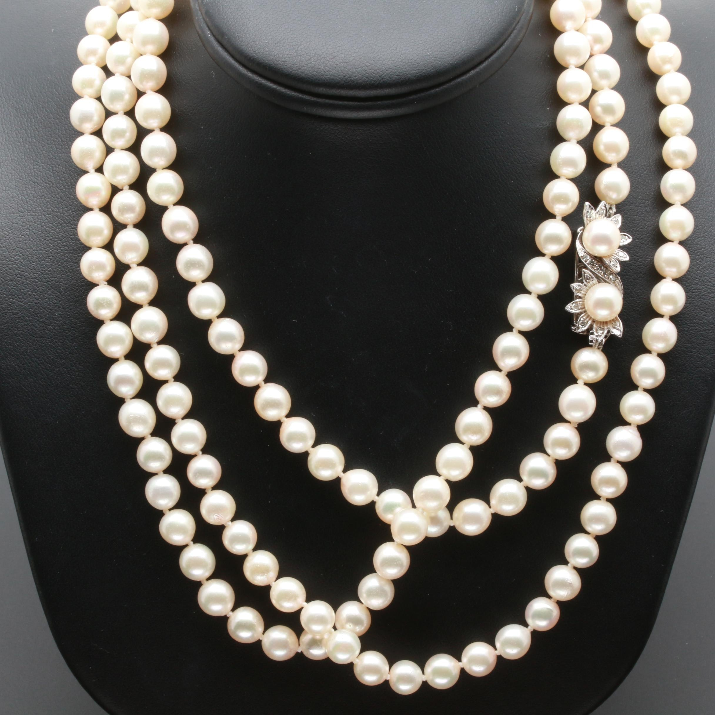 14K White Gold Diamond and Cultured Pearl Beaded Necklace