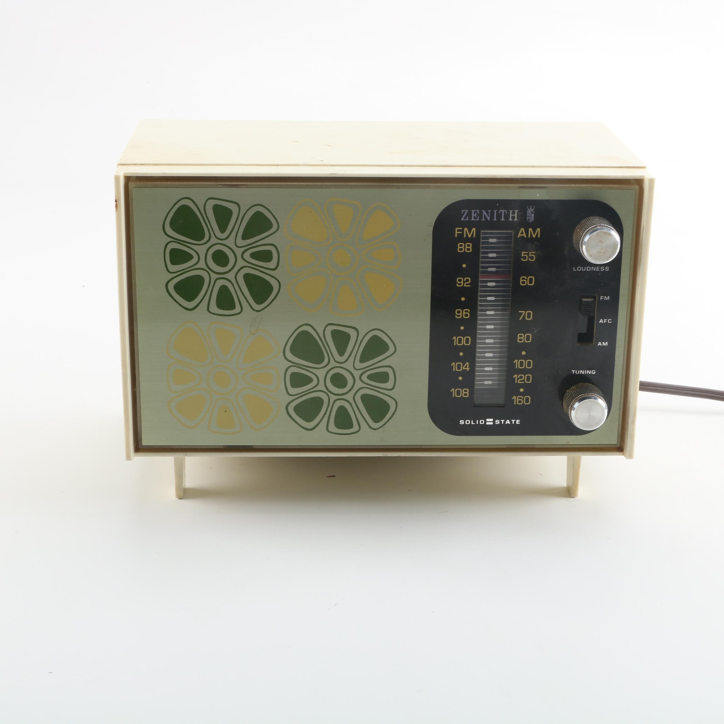 1960s Zenith Solid State Radio with Retro Floral Designs