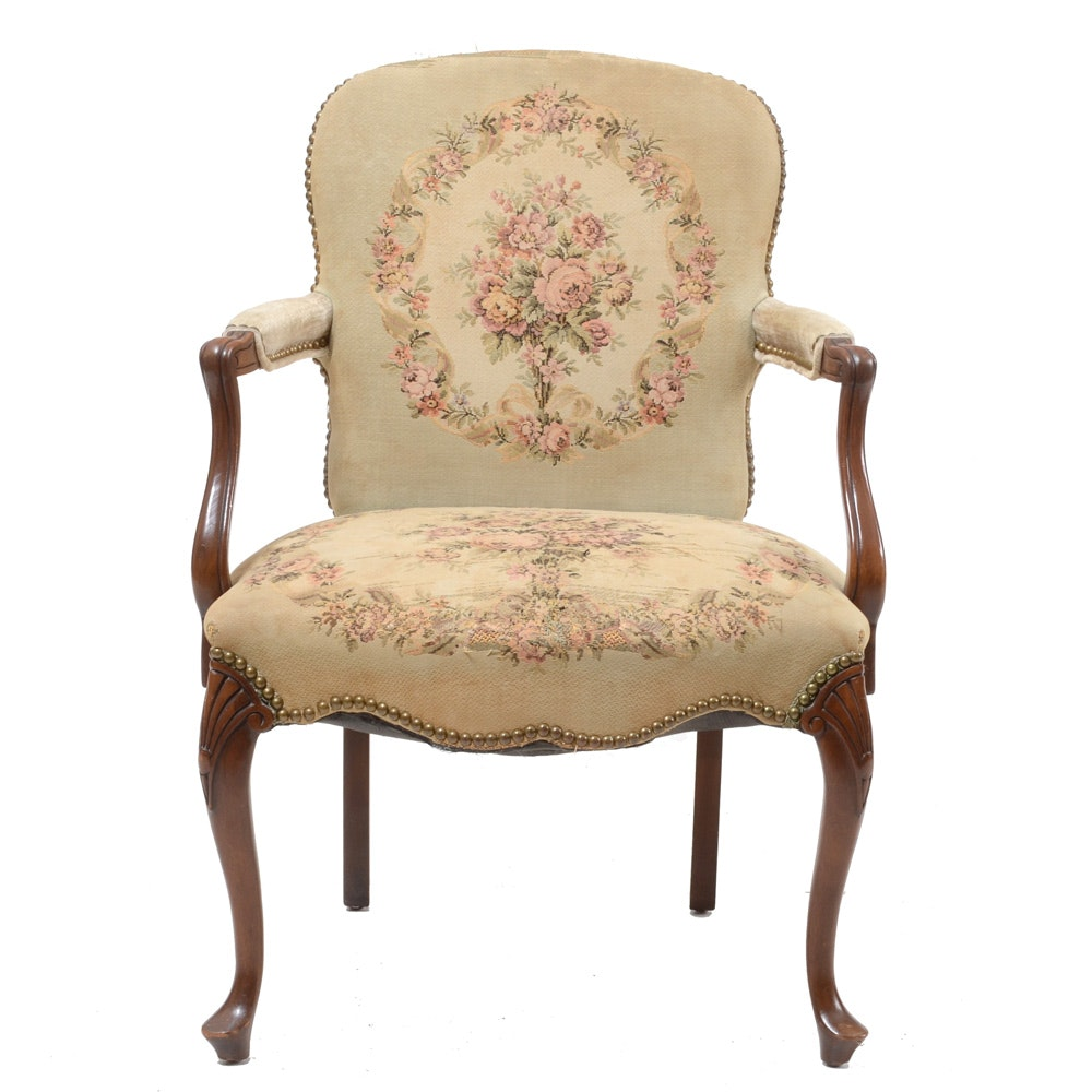 French Style Arm Chair with Tapestry