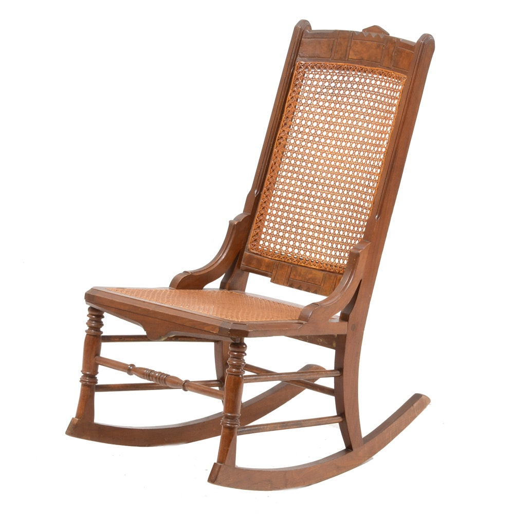 Antique Hand-Caned Rocking Chair