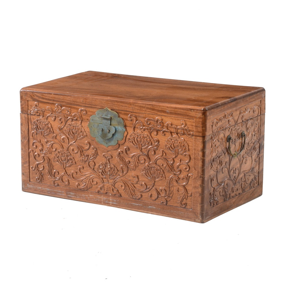 Vintage Chinese Camphor Wood Carved Chest