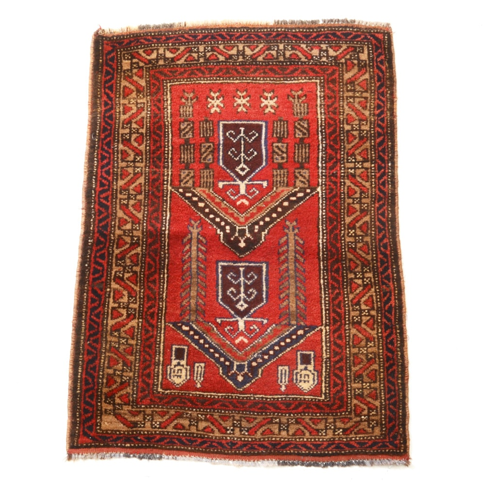 Vintage Hand-Knotted Persian Hamadan Wool Accent Rug