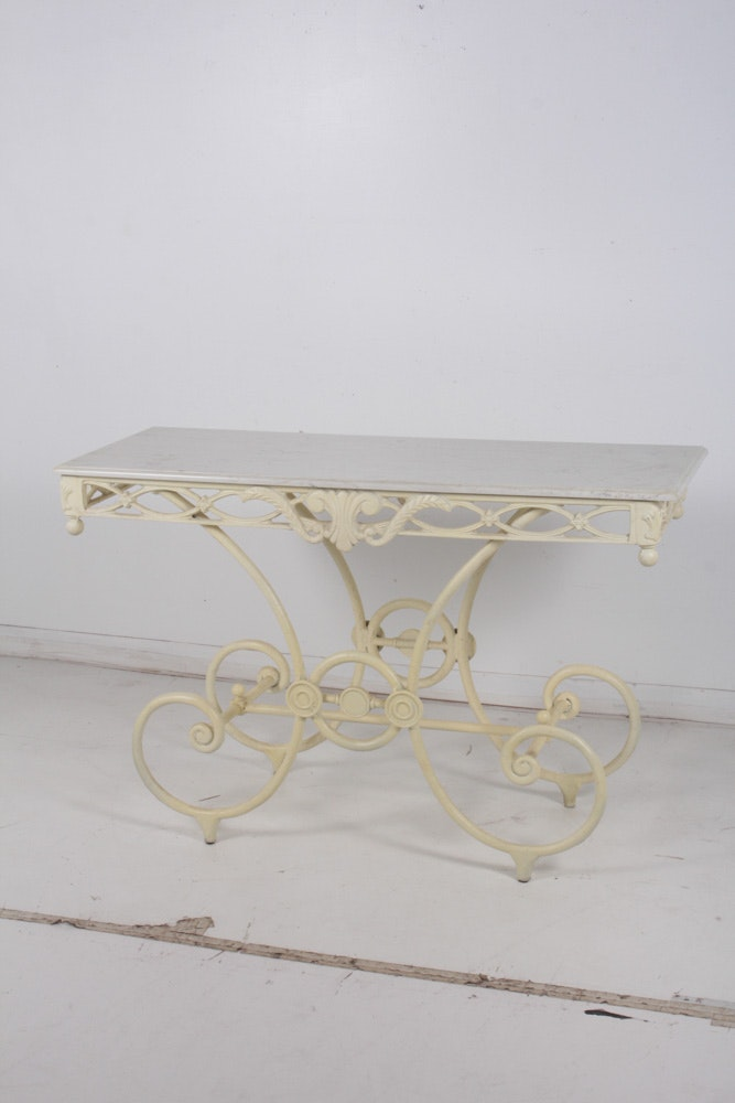 Wrought Iron Marble Top Console Table