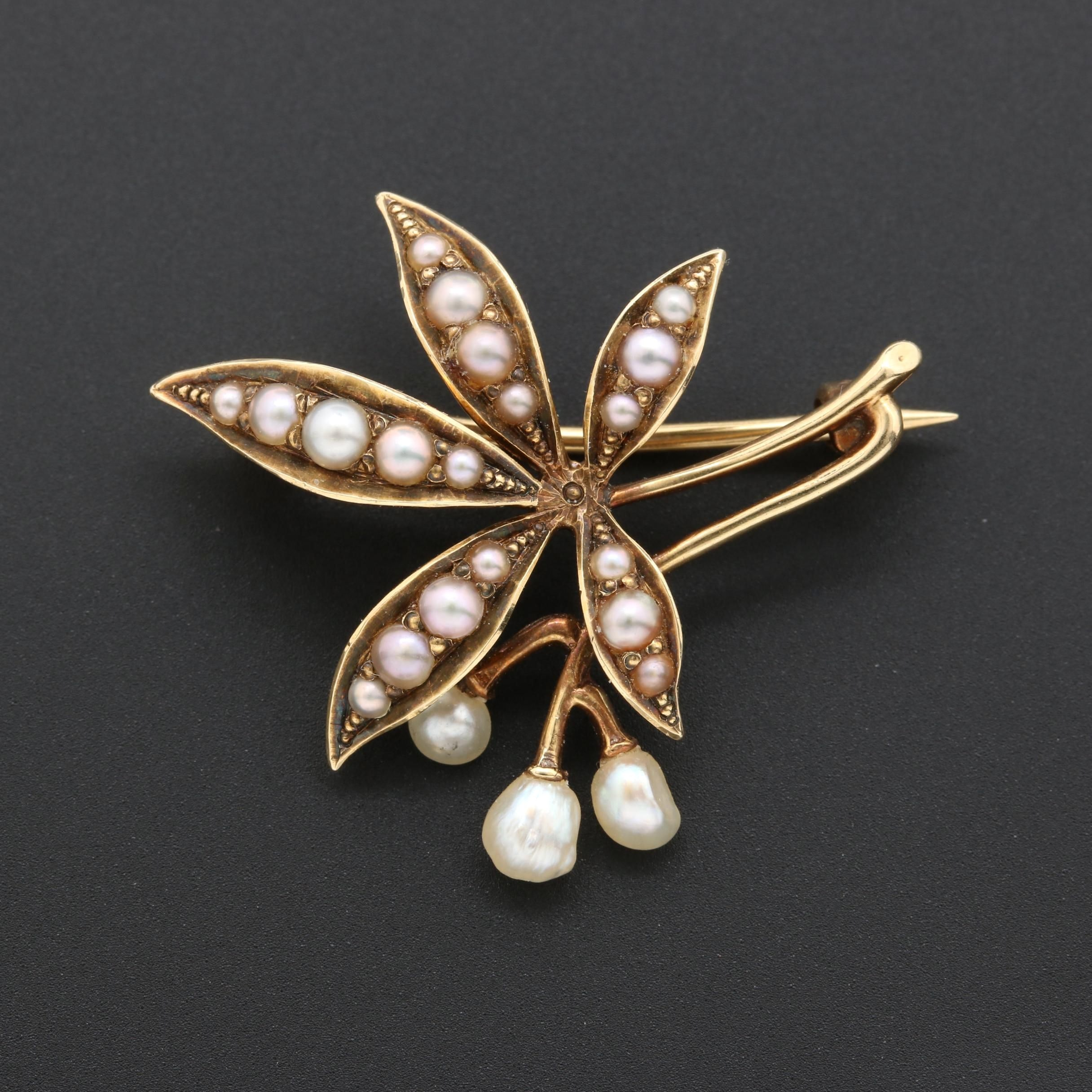 Victorian 14K Yellow Gold Pearl Brooch